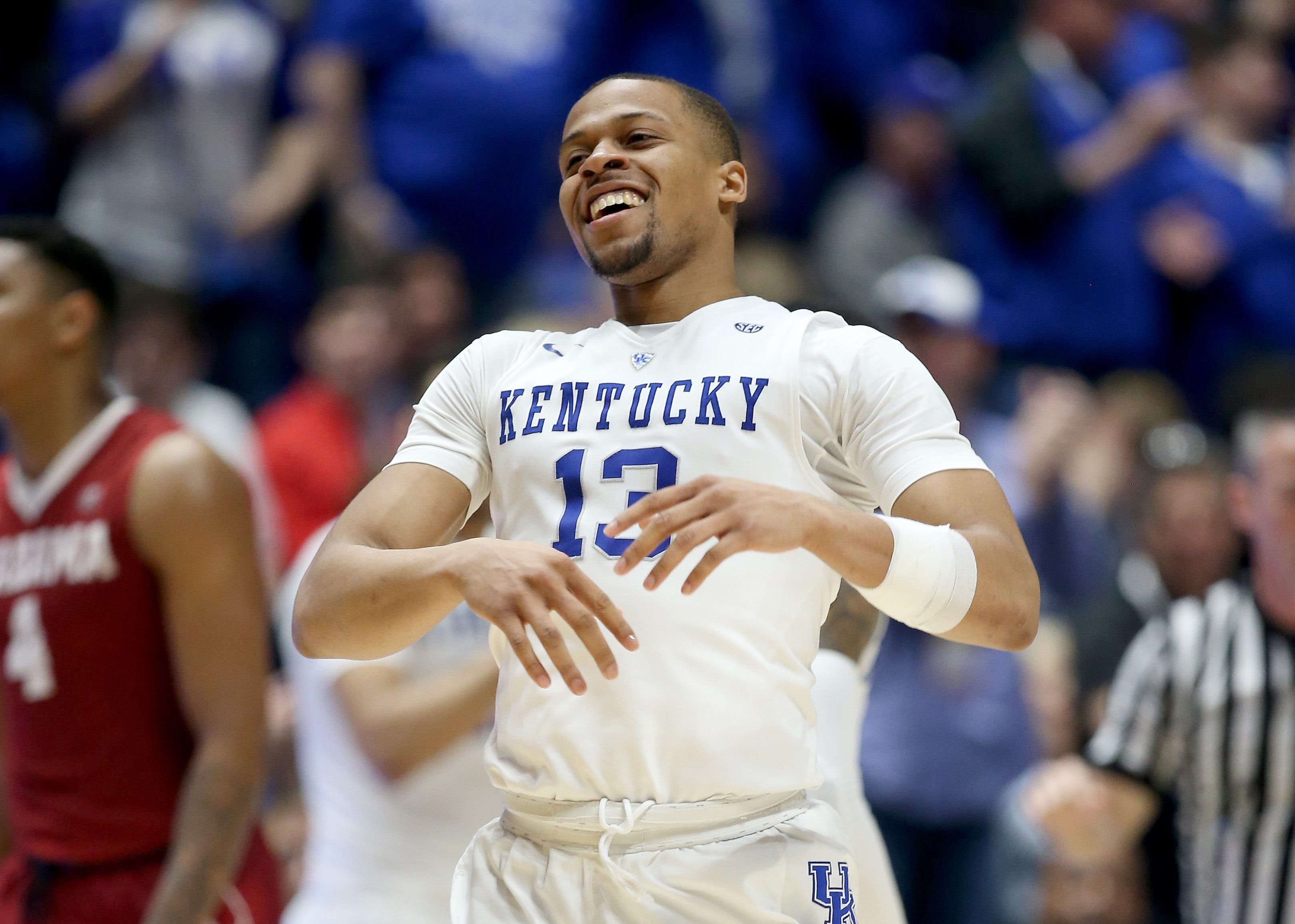 NASHVILLE, TN - MARCH 11: Isaiah Briscoe #13 of the Kentucky Wildcats celebrates in the game against the Alabama Crimson Tide during the quarterfinals of the SEC Basketball Tournament at Bridgestone Arena on March 11, 2016 in Nashville, Tennessee. (Photo by Andy Lyons/Getty Images)