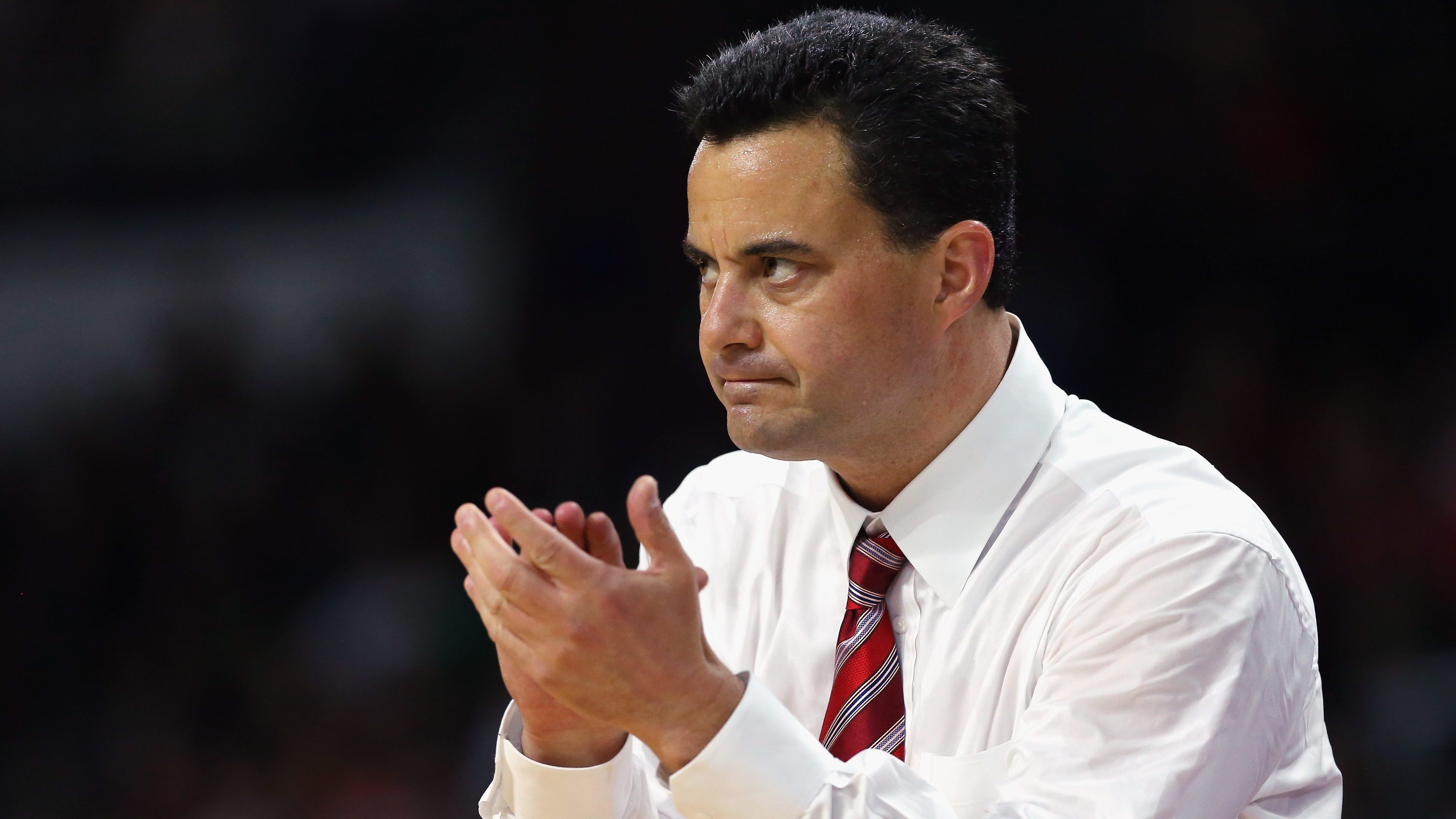 PROVIDENCE, RI - MARCH 17: Head coach Sean Miller of the Arizona Wildcats reacts in the first half against the Wichita State Shockers during the first round of the 2016 NCAA Men's Basketball Tournament at Dunkin' Donuts Center on March 17, 2016 in Providence, Rhode Island. (Photo by Jim Rogash/Getty Images)