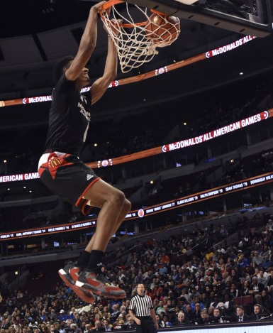 CHICAGO, IL - MARCH 30: Terrance Ferguson #6 of the East  team goes up for a dunk against the West team during the 2016 McDonalds's All American Game on March 30, 2016 at the United Center in Chicago, Illinois. (Photo by David Banks/Getty Images)