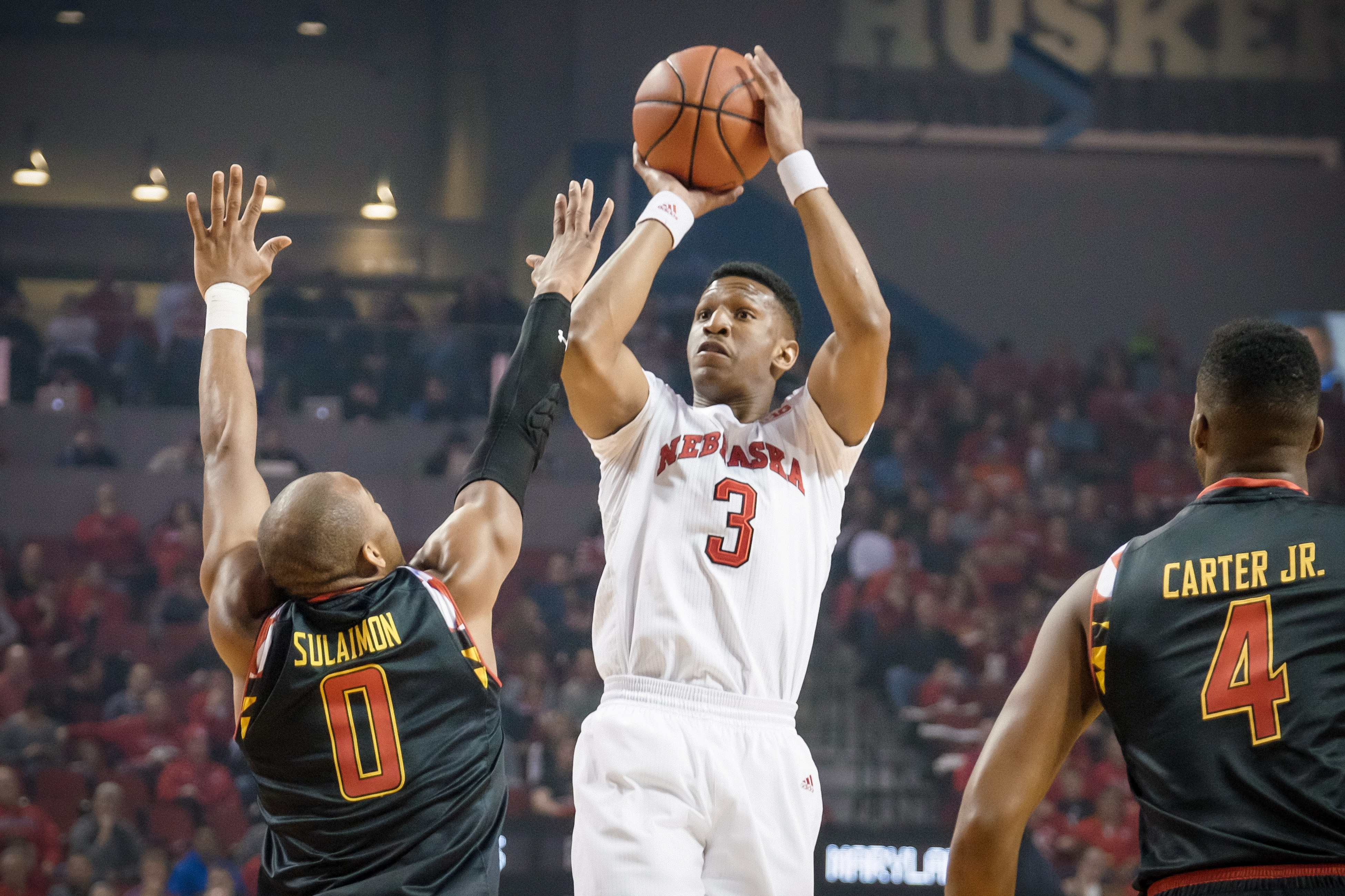 LINCOLN, NE - FEBRUARY 3: Andrew White #3 of the Nebraska Cornhuskers shoots the ball over Rasheed Sulaimon #0 of the Maryland Terrapins during their game at Pinnacle Bank Arena on February 3, 2016 in Omaha, Nebraska. (Photo by Eric Francis/Getty Images)