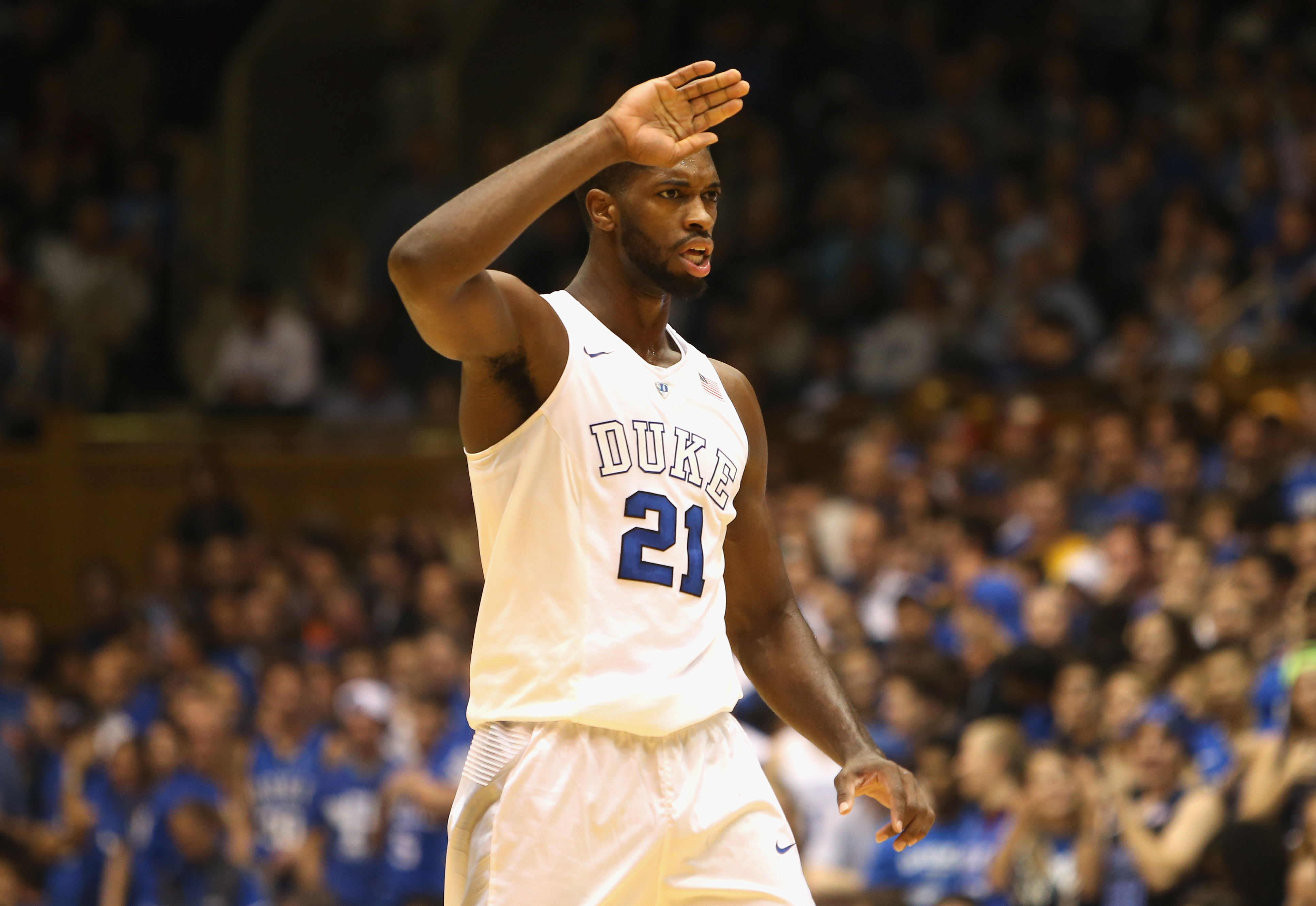 DURHAM, NC - NOVEMBER 13: Amile Jefferson #21 of the Duke Blue Devils during their game at Cameron Indoor Stadium on November 13, 2015 in Durham, North Carolina. (Photo by Streeter Lecka/Getty Images)