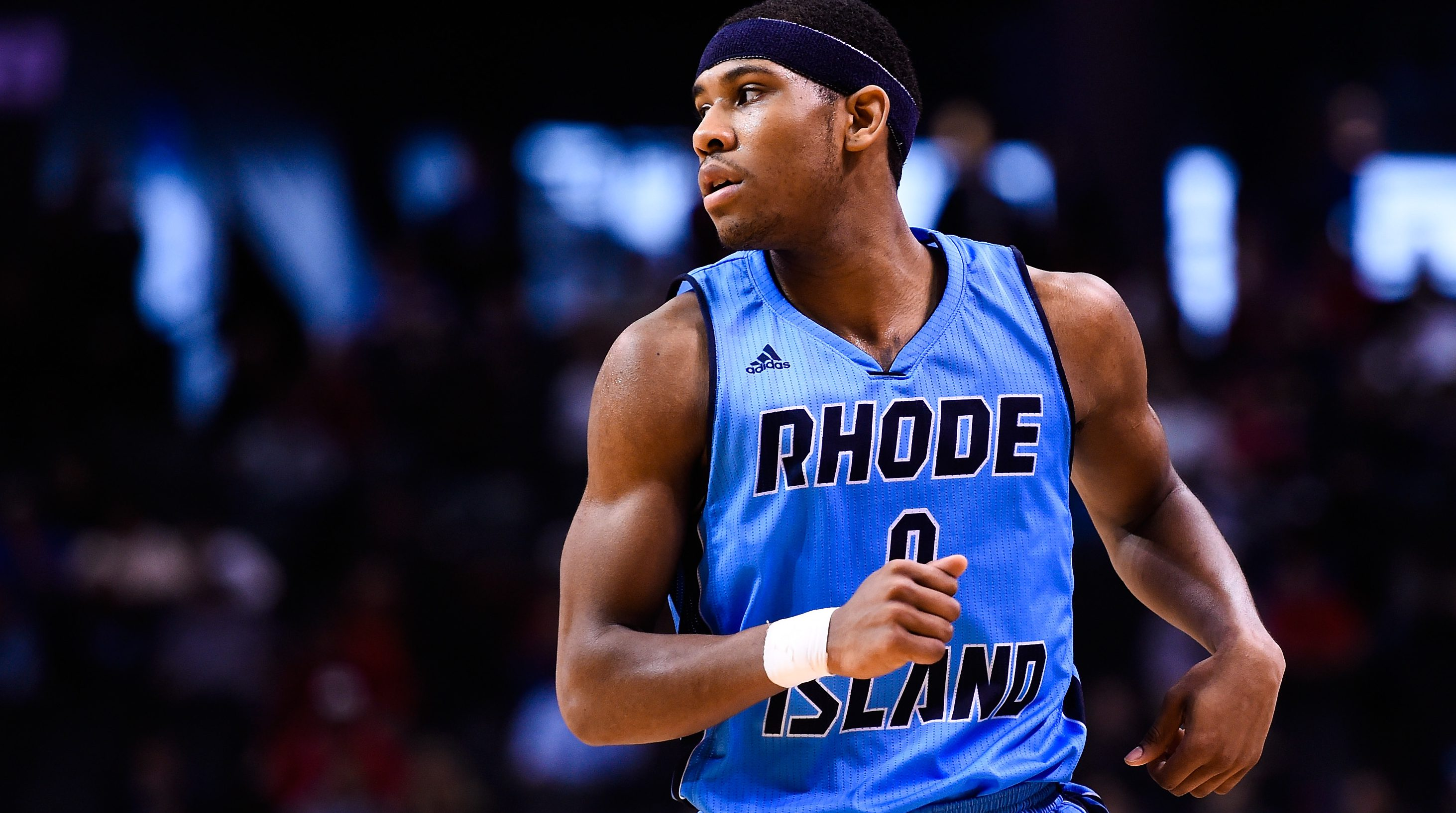 NEW YORK, NY - MARCH 14: E.C. Matthews #0 of the Rhode Island Rams looks on during a semifinal game against the Dayton Flyers in the 2015 Men's Atlantic 10 Basketball Tournament at the Barclays Center on March 14, 2015 in the Brooklyn borough of New York City. (Photo by Alex Goodlett/Getty Images)