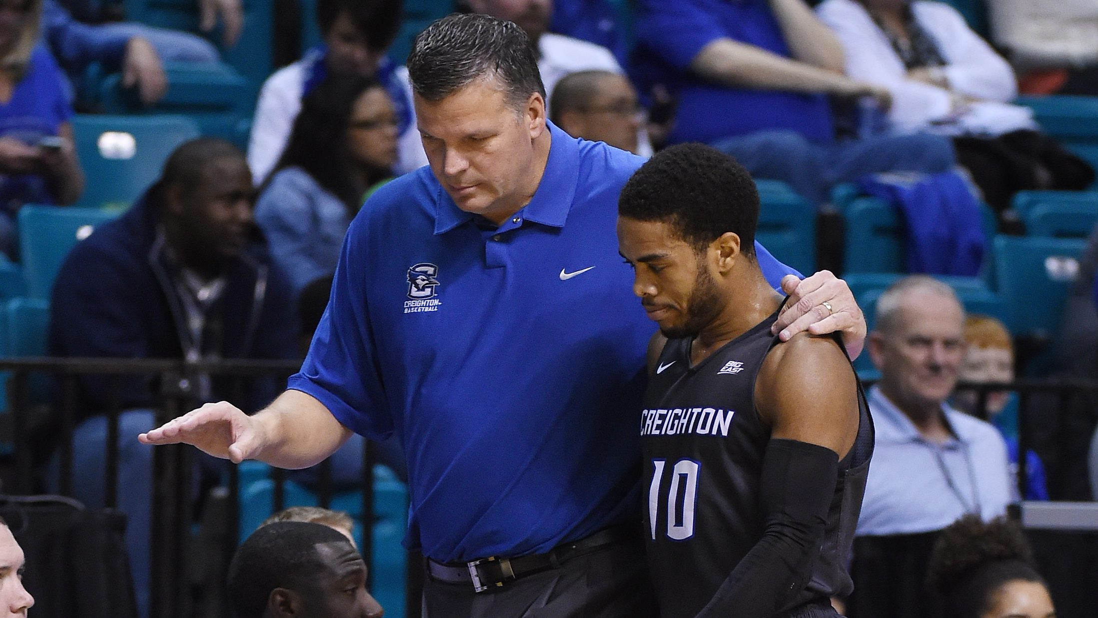 LAS VEGAS, NV - NOVEMBER 25:  Head coach Greg McDermott of the Creighton Bluejays talks with Maurice Watson Jr. #10 during the team's game against the Massachusetts Minutemen during the championship game of the Men Who Speak Up Main Event basketball tournament at MGM Grand Garden Arena on November 25, 2015 in Las Vegas, Nevada. Creighton won 97-76.  (Photo by Ethan Miller/Getty Images)