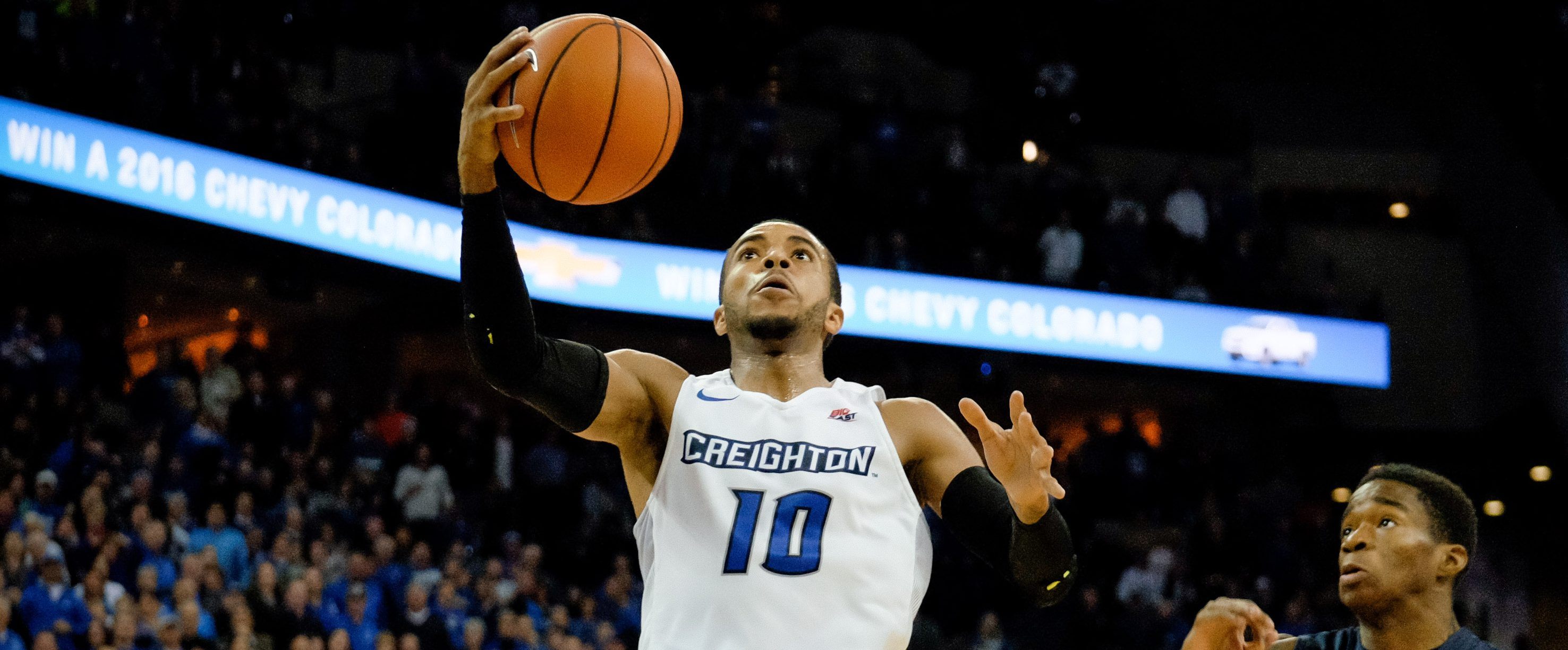 OMAHA, NE - FEBRUARY 9: Maurice Watson Jr. #10 of the Creighton Bluejays drives to the basket past Edmond Sumner #4 of the Xavier Musketeers during their game at CenturyLink Center on February 9, 2016 in Omaha, Nebraska. Creighton defeated Xavier 70-56. (Photo by Eric Francis/Getty Images)