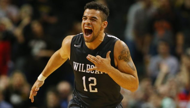 NEW YORK, NY - MARCH 11: Jack Gibbs #12 of the Davidson Wildcats celebrates a basket against the St. Bonaventure Bonnies during the Quarterfinals of the Atlantic 10 Basketball Tournament at the Barclays Center on March 11, 2016 in New York, New York. (Photo by Al Bello/Getty Images)