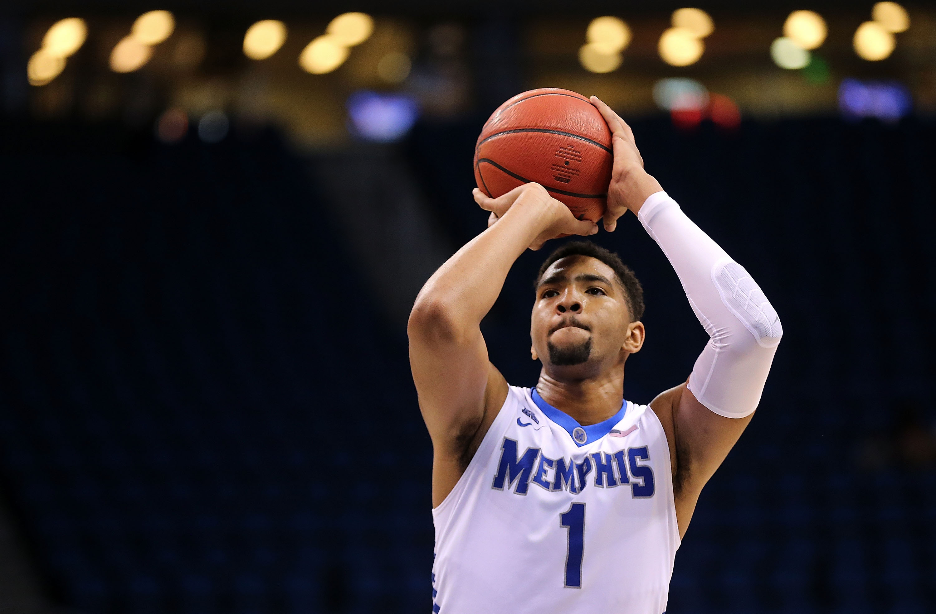 ORLANDO, FL - MARCH 12: Dedric Lawson #1 of the Memphis Tigers shoots a foul shot during a semifinal game of the 2016 AAC Basketball Tournament against the Tulane Green Wave at Amway Center on March 12, 2016 in Orlando, Florida. (Photo by Mike Ehrmann/Getty Images)