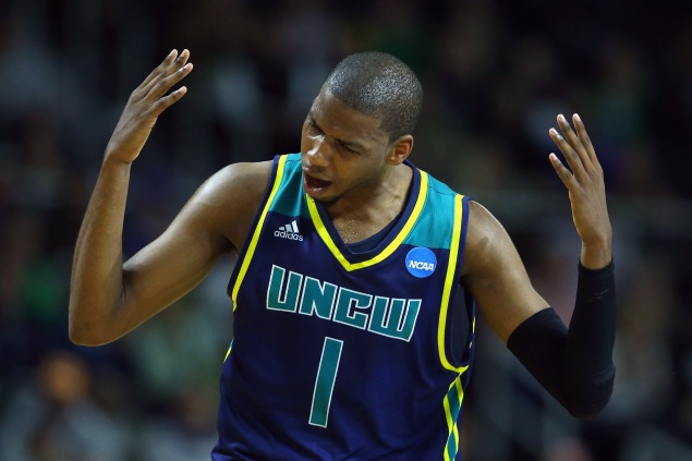 PROVIDENCE, RI - MARCH 17: Chris Flemmings #1 of the North Carolina-Wilmington Seahawks reacts during the game against the Duke Blue Devils in the first round of the 2016 NCAA Men's Basketball Tournament at Dunkin' Donuts Center on March 17, 2016 in Providence, Rhode Island. (Photo by Jim Rogash/Getty Images)