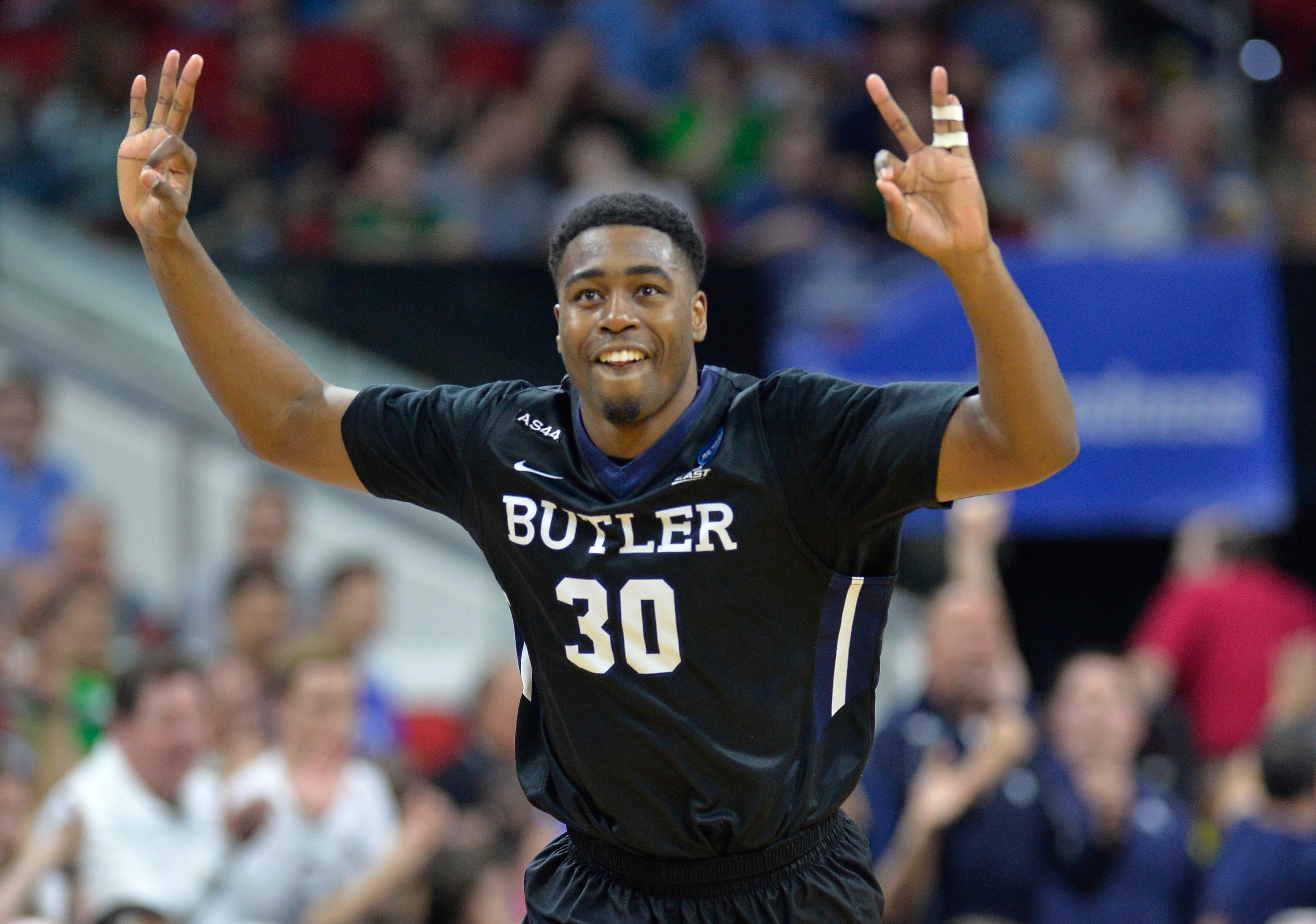 RALEIGH, NORTH CAROLINA - MARCH 17:  Kelan Martin #30 of the Butler Bulldogs reacts in the second half against the Texas Tech Red Raiders in the first round of the 2016 NCAA Men's Basketball Tournament at PNC Arena on March 17, 2016 in Raleigh, North Carolina.  (Photo by Grant Halverson/Getty Images)