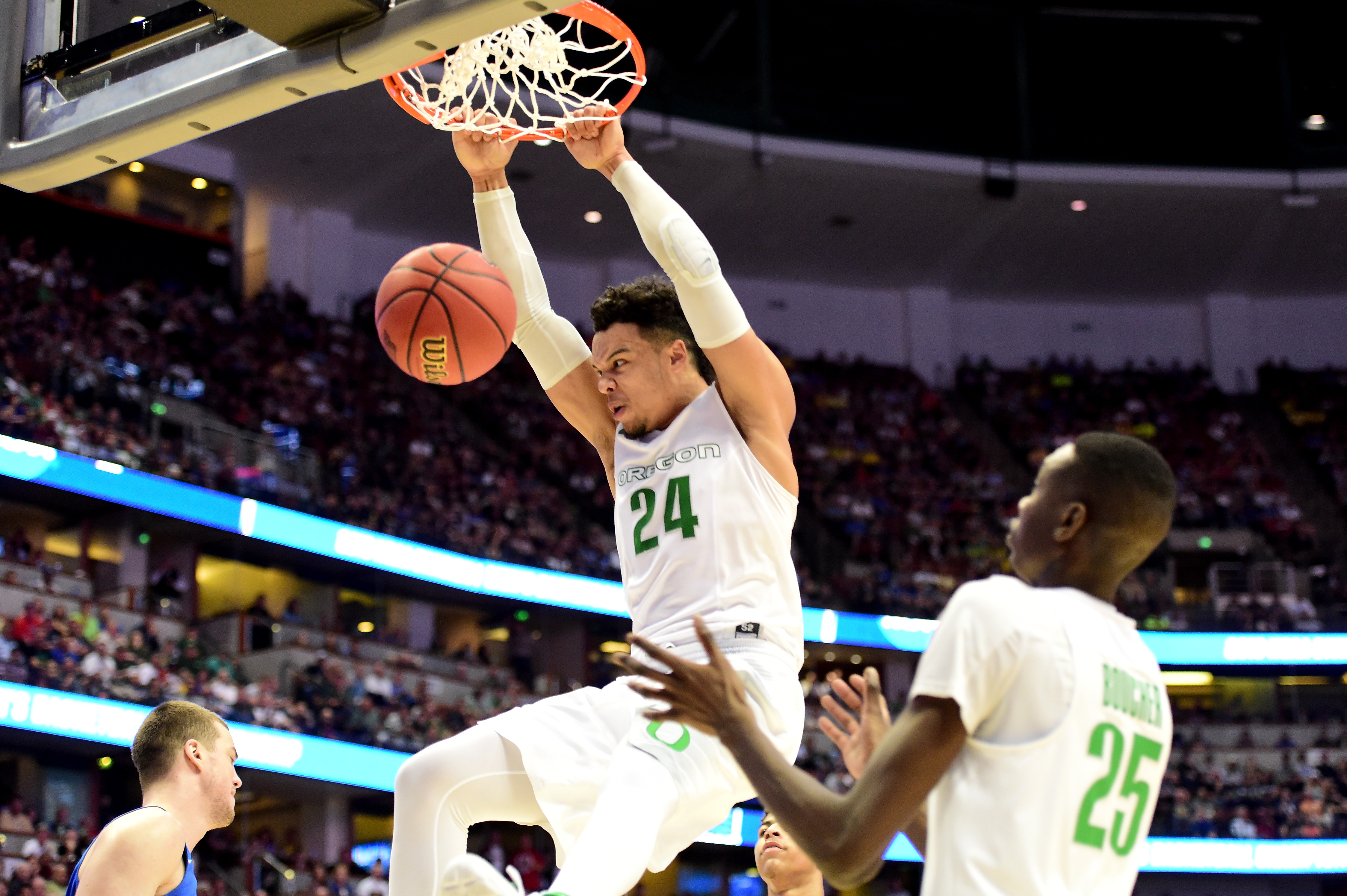 ANAHEIM, CA - MARCH 24: Dillon Brooks #24 of the Oregon Ducks dunks the ball in the first half while taking on the Duke Blue Devils in the 2016 NCAA Men's Basketball Tournament West Regional at the Honda Center on March 24, 2016 in Anaheim, California. (Photo by Harry How/Getty Images)