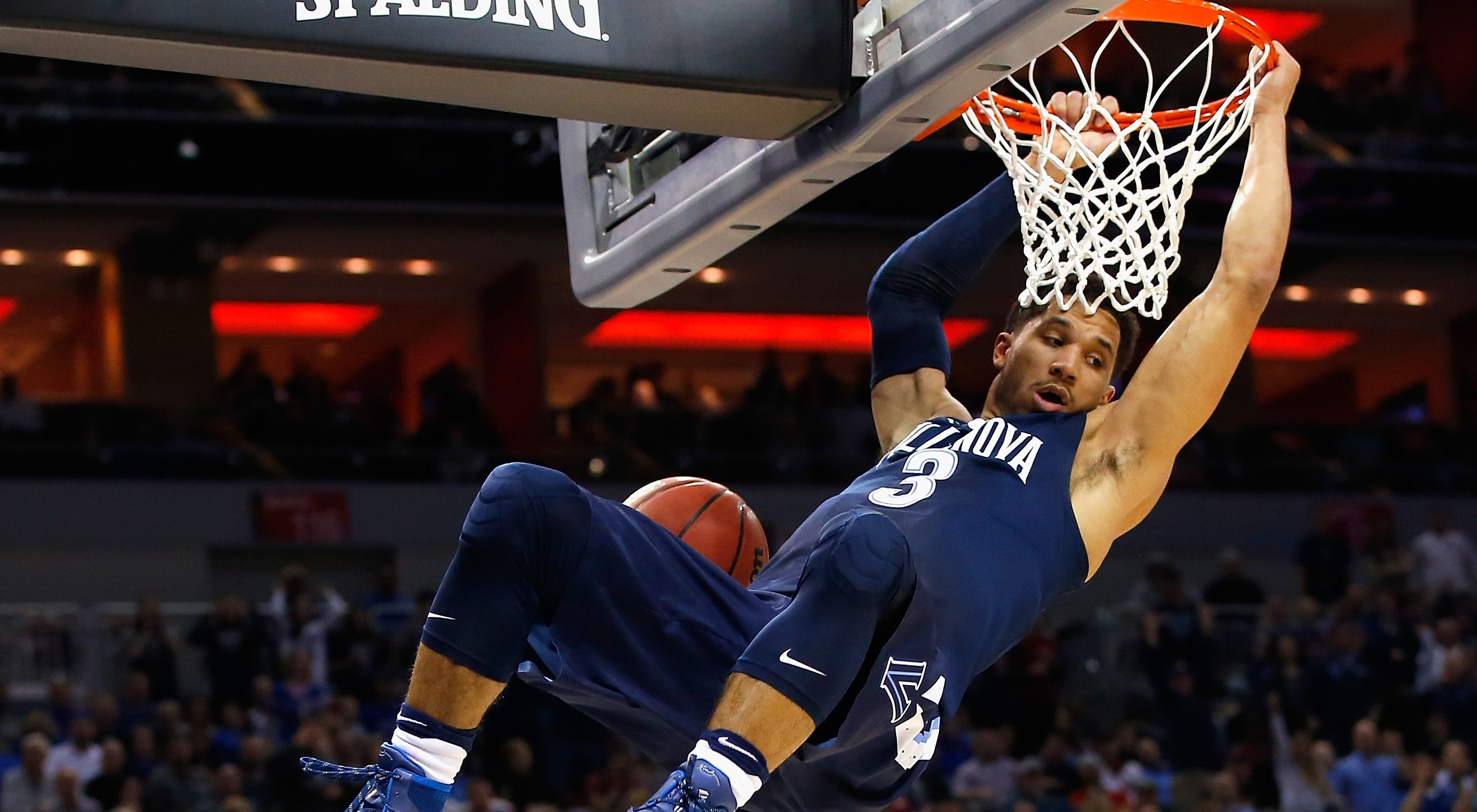 LOUISVILLE, KY - MARCH 26:  Josh Hart #3 of the Villanova Wildcats dunks the ball in the first half against the Kansas Jayhawks during the 2016 NCAA Men's Basketball Tournament South Regional at KFC YUM! Center on March 26, 2016 in Louisville, Kentucky.  (Photo by Kevin C. Cox/Getty Images)