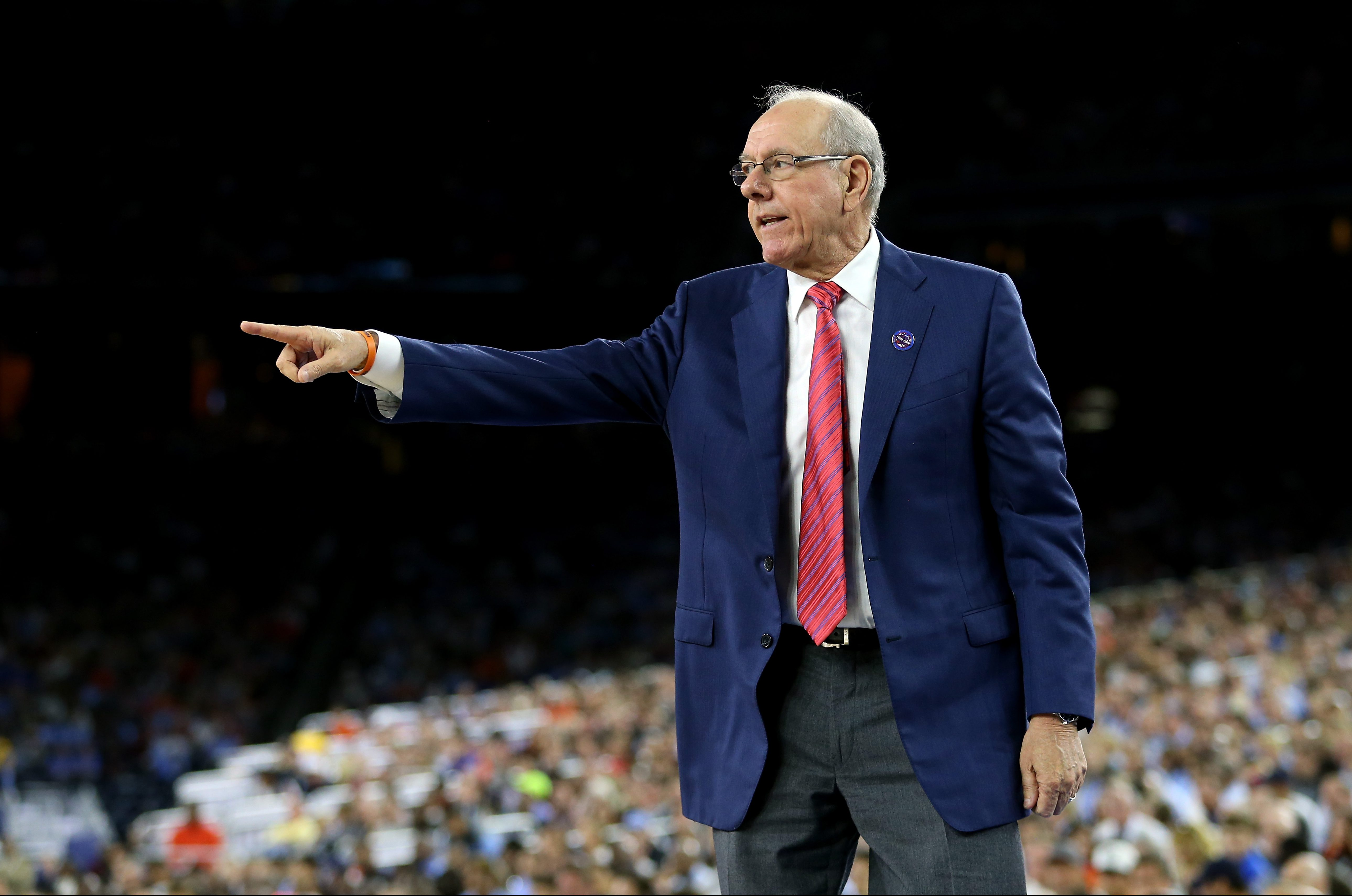 HOUSTON, TEXAS - APRIL 02: Head coach Jim Boeheim of the Syracuse Orange reacts in the first half against the North Carolina Tar Heels during the NCAA Men's Final Four Semifinal at NRG Stadium on April 2, 2016 in Houston, Texas. (Photo by Streeter Lecka/Getty Images)