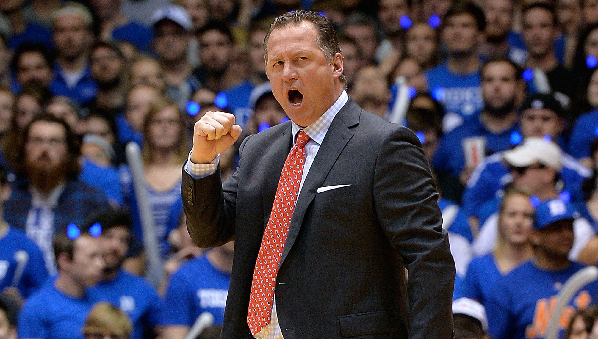 DURHAM, NC - FEBRUARY 06: Head coach Mark Gottfried of the North Carolina State Wolfpack reacts during their game against the Duke Blue Devils at Cameron Indoor Stadium on February 6, 2016 in Durham, North Carolina. (Photo by Grant Halverson/Getty Images)