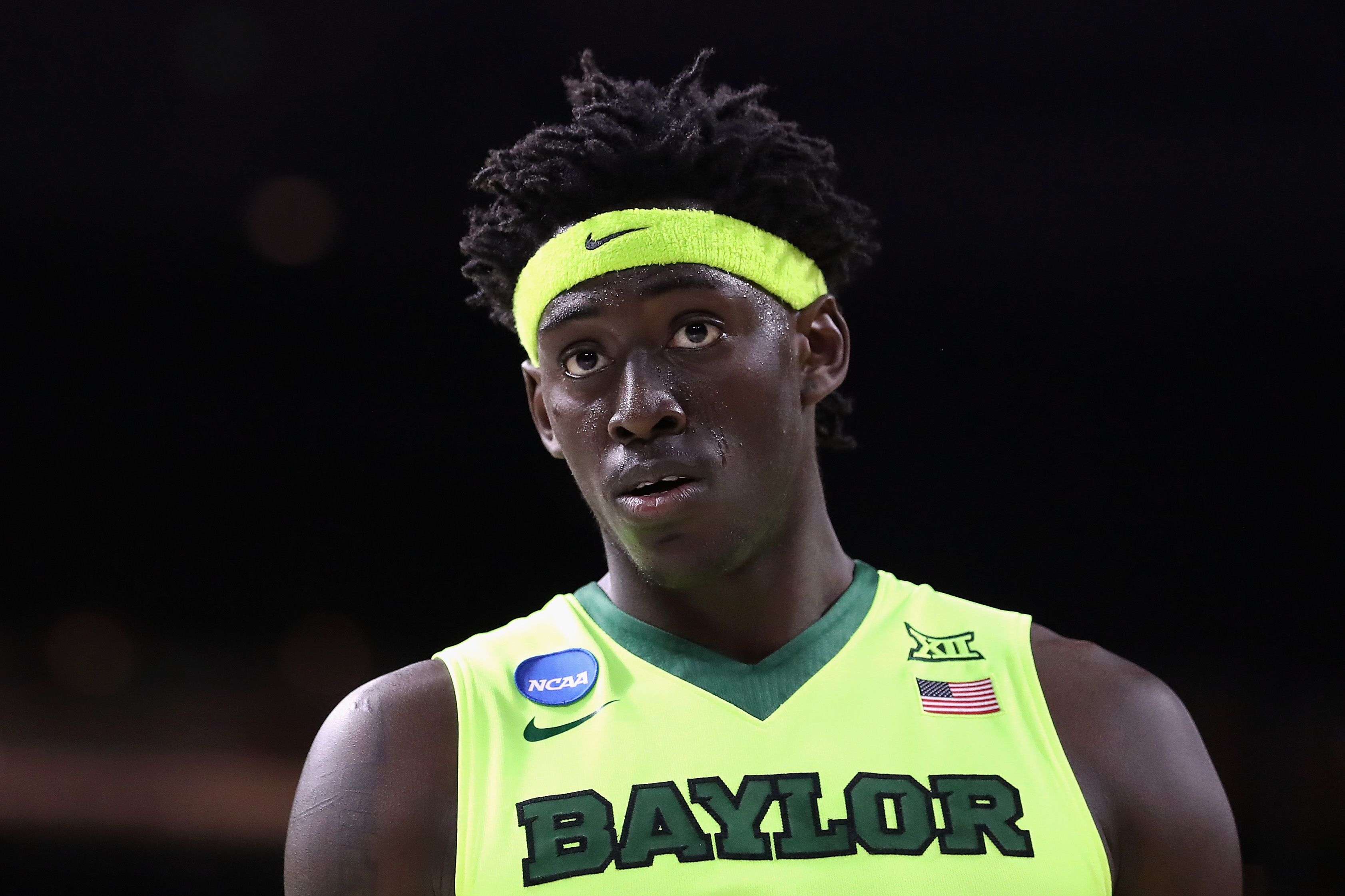 PROVIDENCE, RI - MARCH 17: Johnathan Motley #5 of the Baylor Bears looks on in the second half against the Yale Bulldogs during the first round of the 2016 NCAA Men's Basketball Tournament at Dunkin' Donuts Center on March 17, 2016 in Providence, Rhode Island. (Photo by Maddie Meyer/Getty Images)