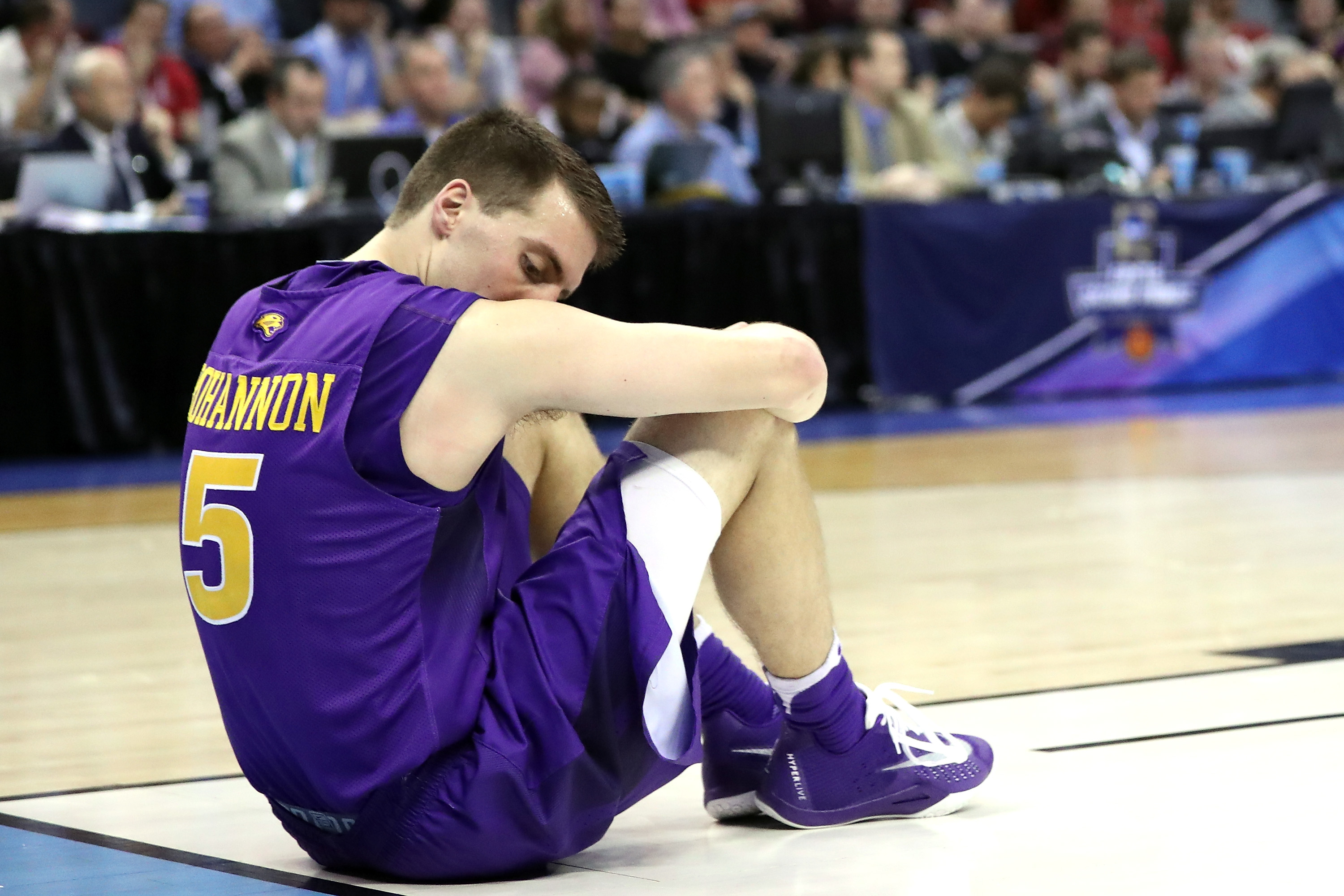 OKLAHOMA CITY, OK - MARCH 20: Matt Bohannon #5 of the Northern Iowa Panthers sits on the court after a play in the second half against the Texas A&M Aggies during the second round of the 2016 NCAA Men's Basketball Tournament at Chesapeake Energy Arena on March 20, 2016 in Oklahoma City, Oklahoma. (Photo by Ronald Martinez/Getty Images)