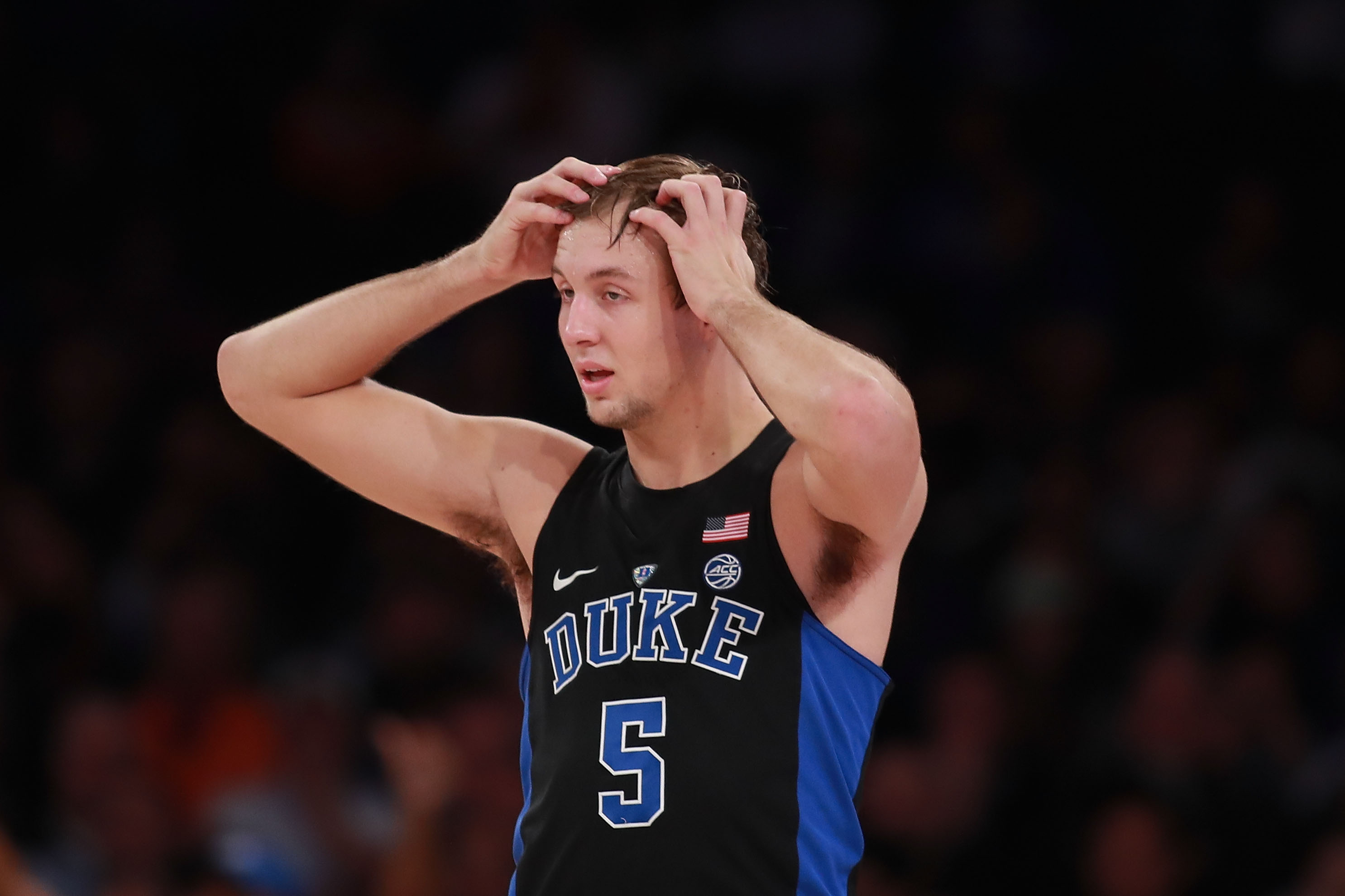 NEW YORK, NY - NOVEMBER 15:  Luke Kennard #5 of the Duke Blue Devils reacts against the Kansas Jayhawks in the second half during the State Farm Champions Classic at Madison Square Garden on November 15, 2016 in New York City.  (Photo by Michael Reaves/Getty Images)