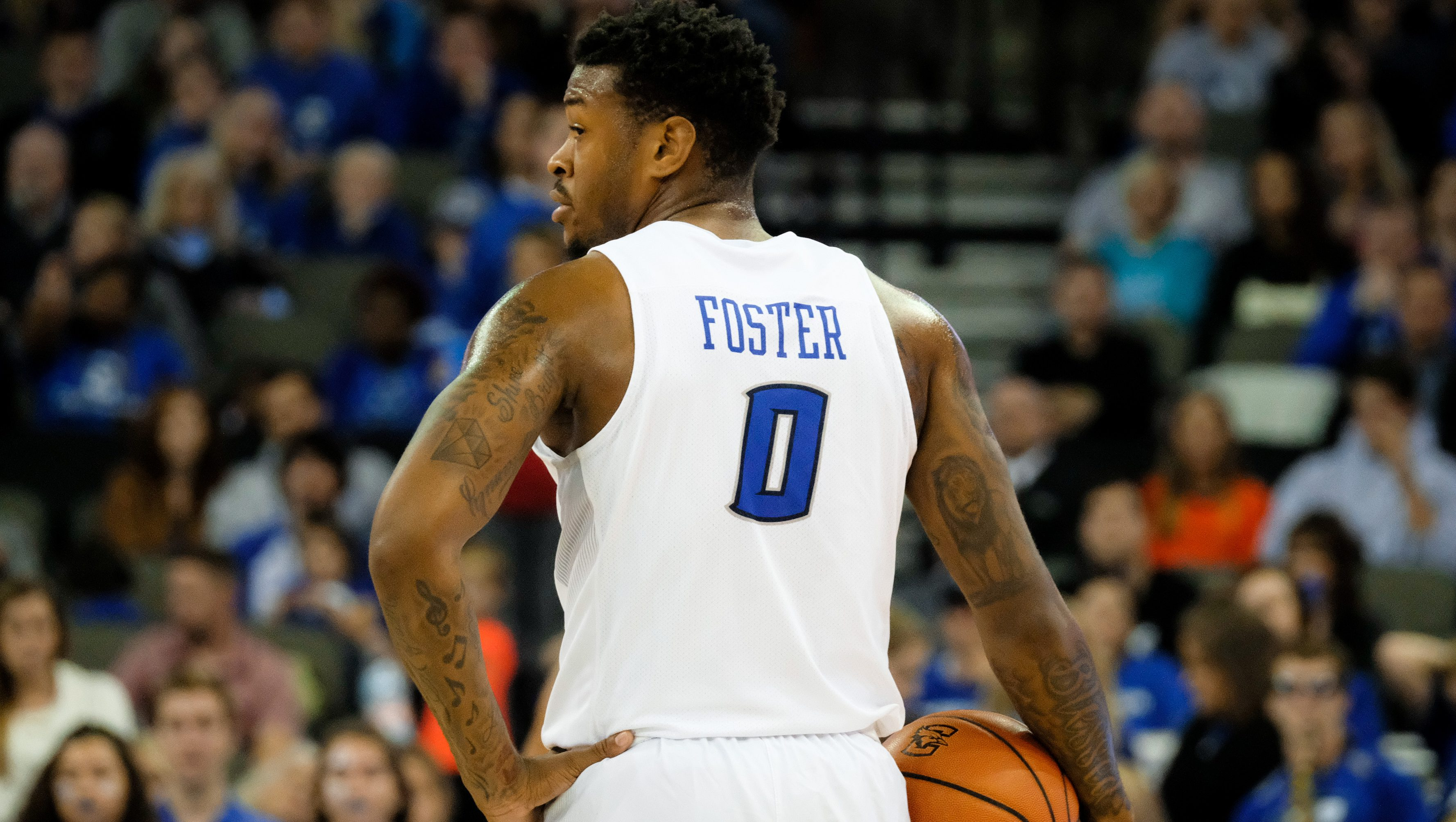 OMAHA, NEBRASKA-NOVEMBER 26: Marcus Foster #0 of the Creighton Bluejays take s a break during their game against the Loyola (Md) Greyhounds at the CenturyLink Center on November 26, 2016 in Omaha, Nebraska. (Photo by Eric Francis/Getty Images)