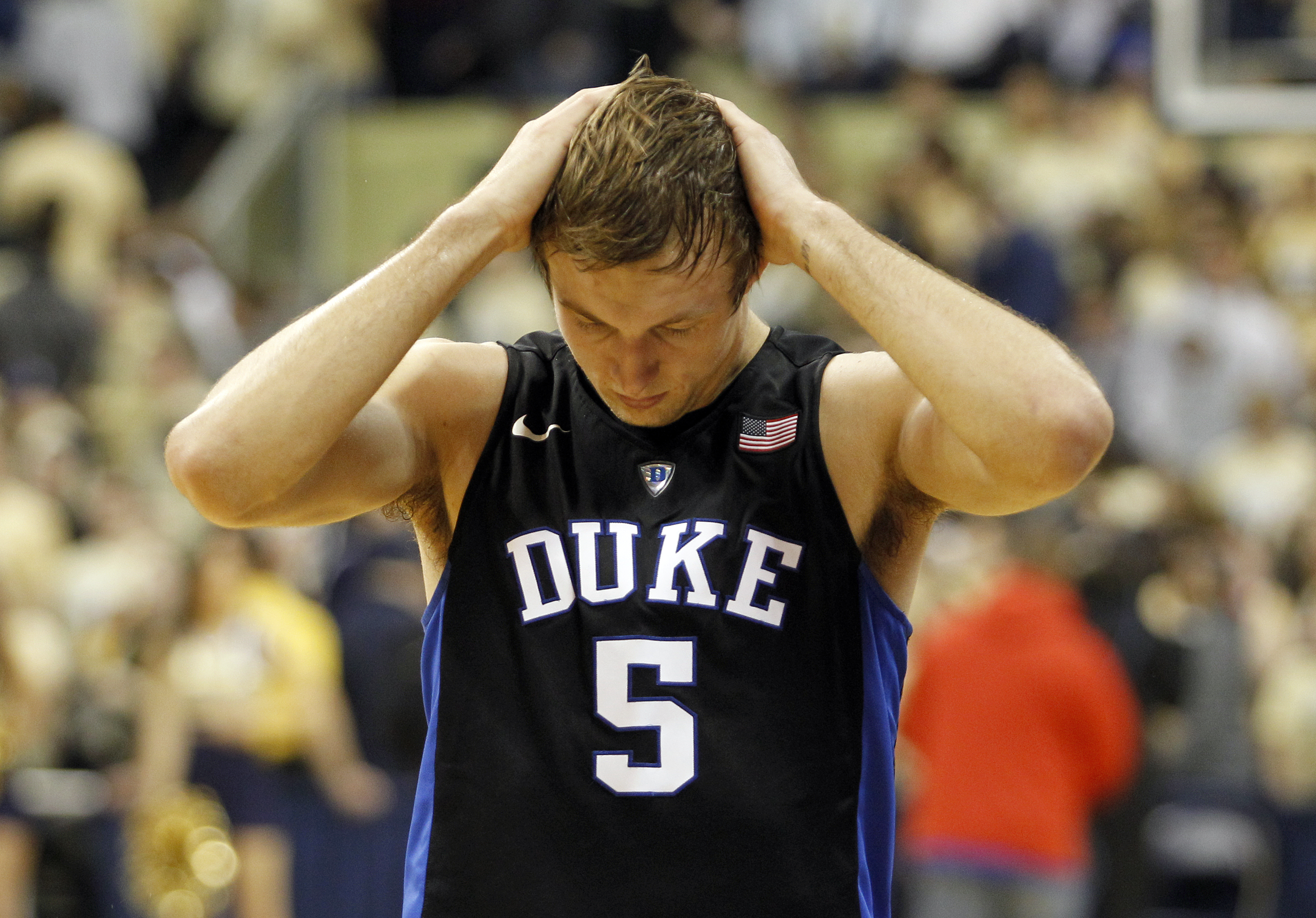 PITTSBURGH, PA - FEBRUARY 28:  Luke Kennard #5 of the Duke Blue Devils reacts after losing 76-62 to the Pittsburgh Panthers during the game at Petersen Events Center on February 28, 2016 in Pittsburgh, Pennsylvania.  (Photo by Justin K. Aller/Getty Images)