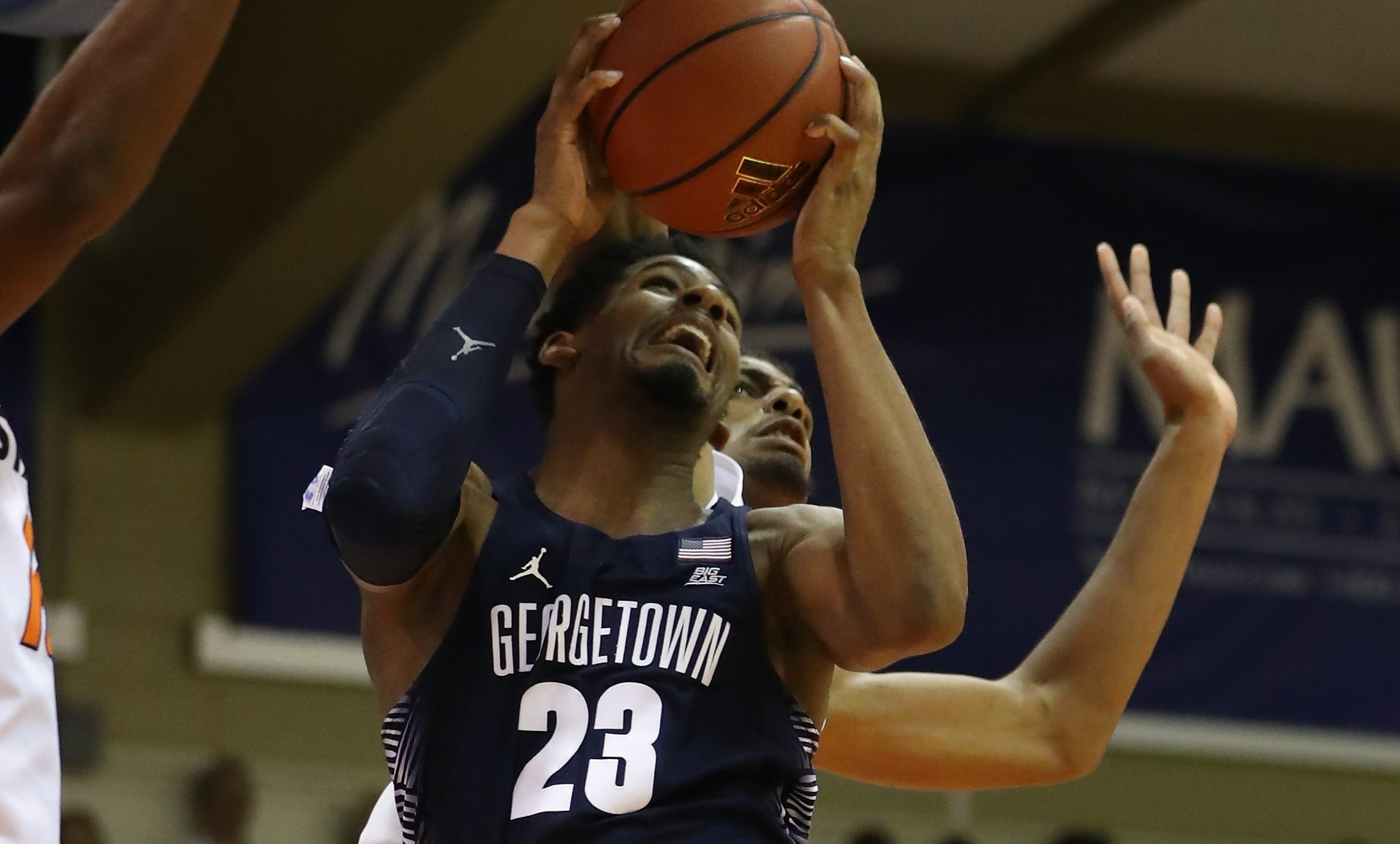 LAHAINA, HI - NOVEMBER 23: Rodney Pryor #23 of the Georgetown Hoyas glides to the basket and shoots during the second half of the Maui Invitational NCAA college basketball game at the Lahaina Civic Center on November 23, 2016 in Lahaina, Hawaii. (Photo by Darryl Oumi/Getty Images). Oklahoma State won the game 97-70.