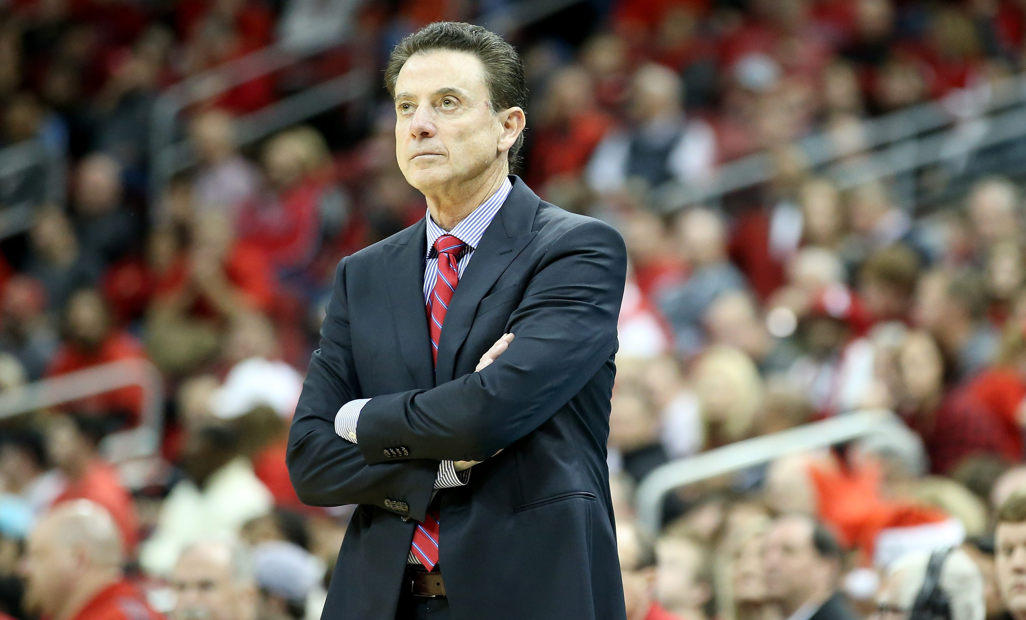 LOUISVILLE, KY - DECEMBER 10:  Rick Pitino the head coach of the Louisville Cardinals watches the action during the game against the Texas Southern Tigers at KFC YUM! Center on December 10, 2016 in Louisville, Kentucky.  (Photo by Andy Lyons/Getty Images)