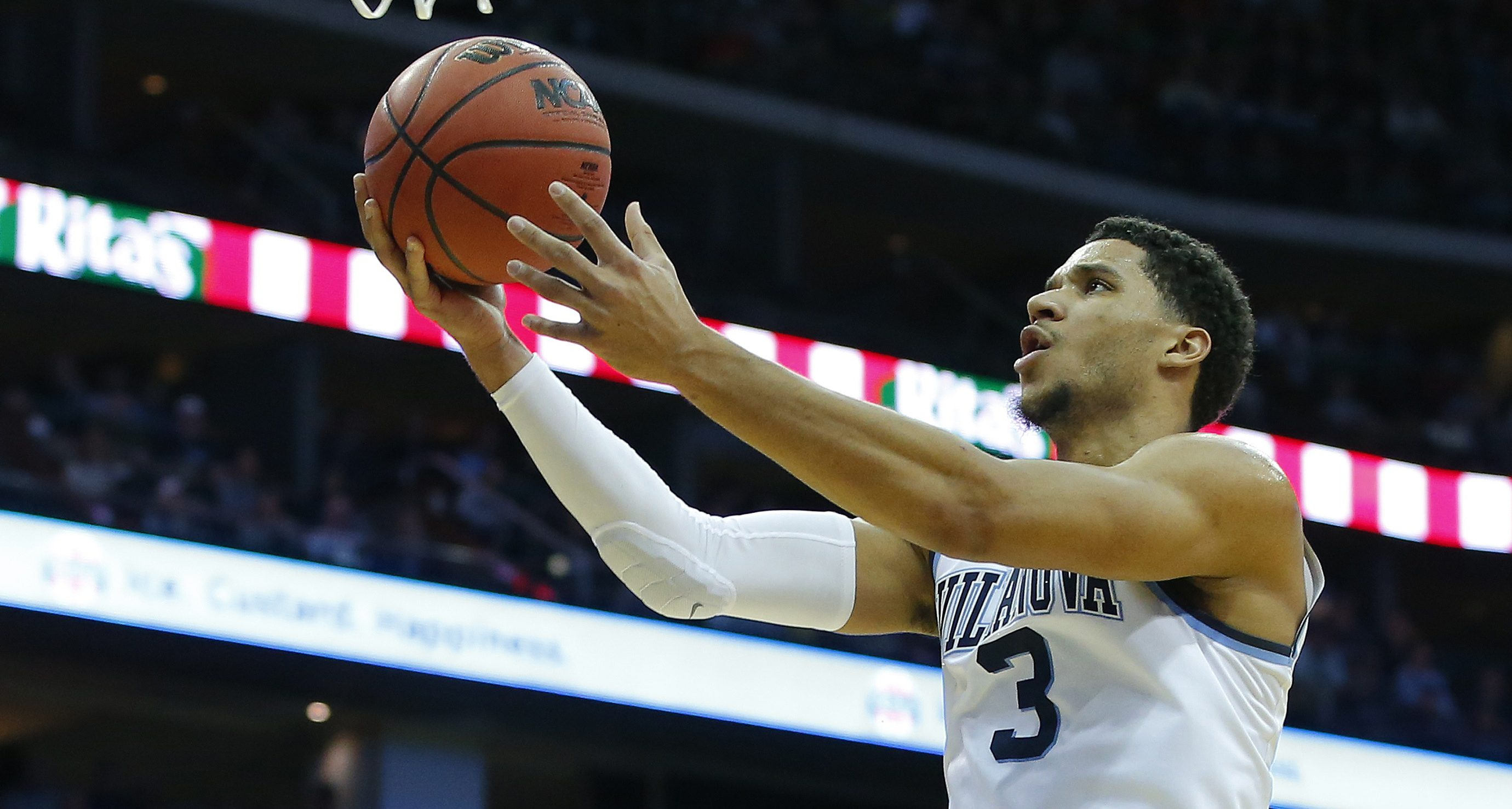 NEWARK, NJ - DECEMBER 10: Josh Hart #3 of the Villanova Wildcats takes a shot against the Notre Dame Fighting Irish during the first half of a college basketball game at Prudential Center on December 10, 2016 in Newark, New Jersey. Villanova defeated Notre Dame 74-66. (Photo by Rich Schultz/Getty Images)
