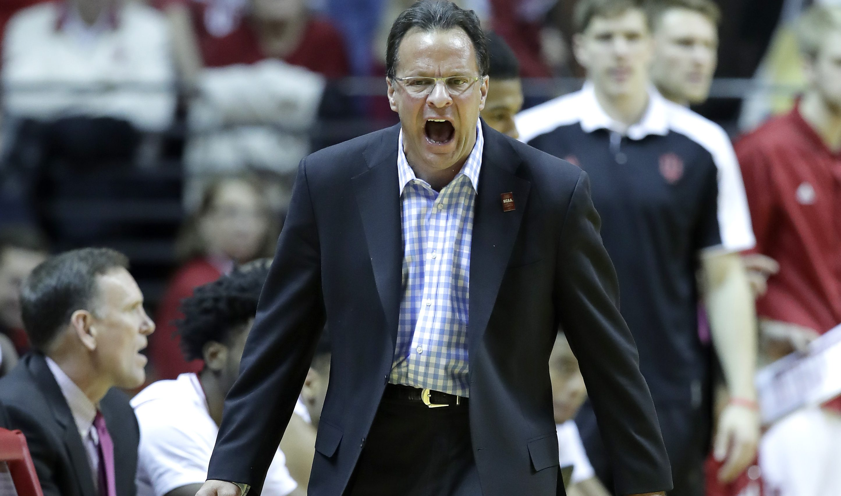 BLOOMINGTON, IN - DECEMBER 19:  Tom Crean the head coach of the Indiana Hoosiers gives instructions to his team during the game against the Delaware State Hornets at Assembly Hall on December 19, 2016 in Bloomington, Indiana.  (Photo by Andy Lyons/Getty Images)