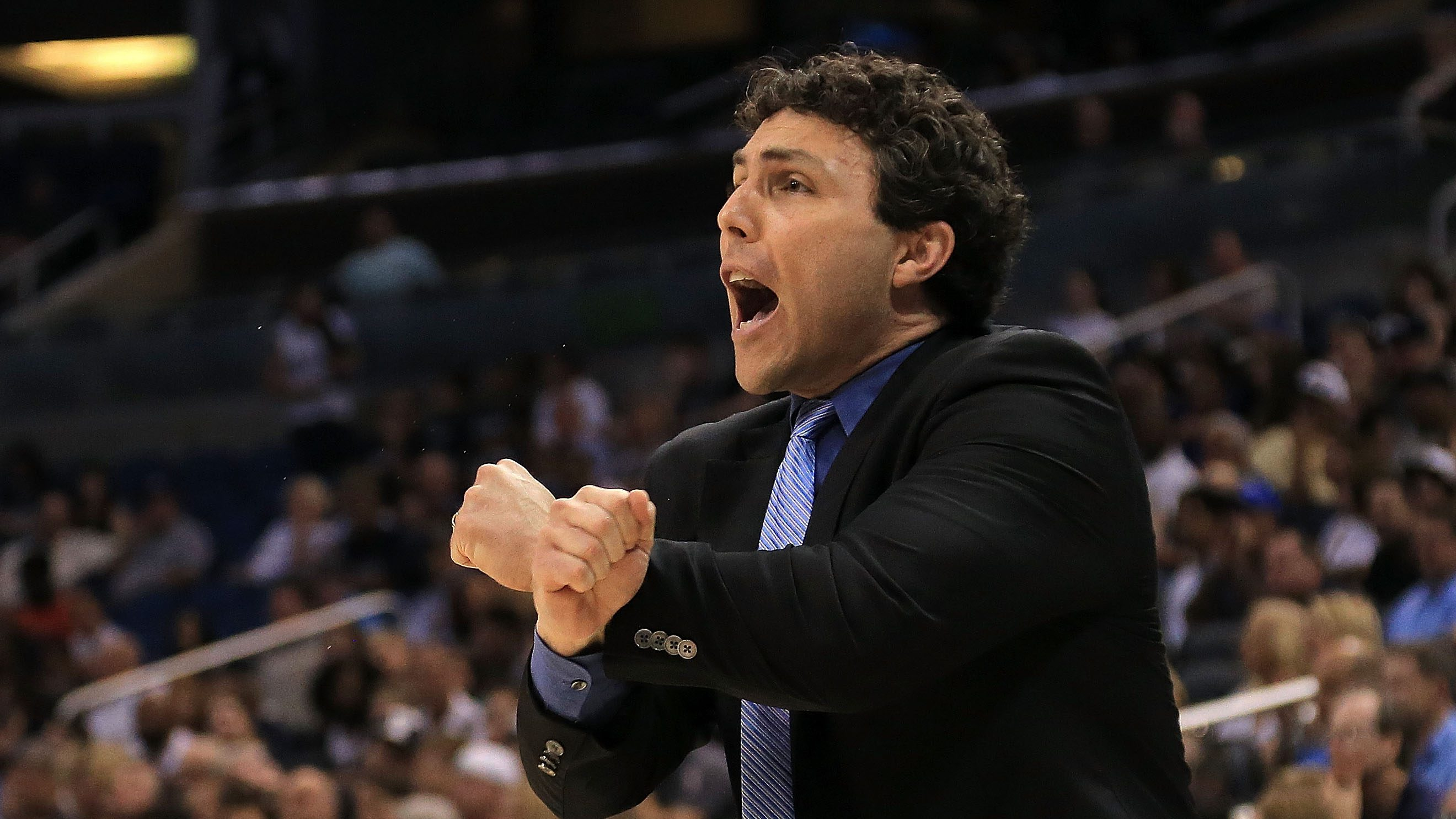 ORLANDO, FL - MARCH 13: Head coach Josh Pastner of the Memphis Tigers calls a play during the Final of the 2016 AAC Basketball Tournament against the Connecticut Huskies at Amway Center on March 13, 2016 in Orlando, Florida. (Photo by Mike Ehrmann/Getty Images)