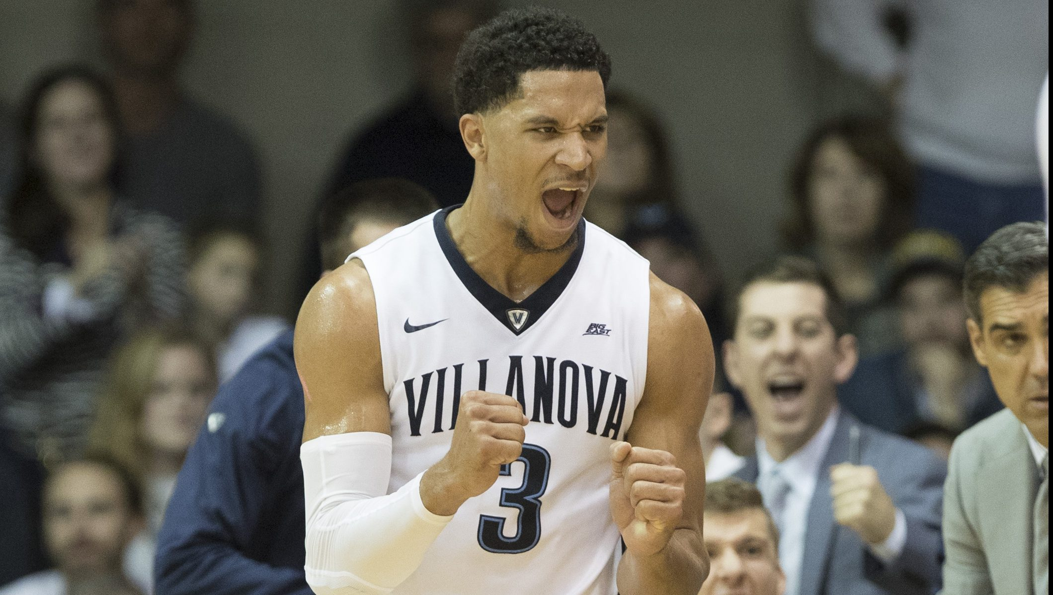 VILLANOVA, PA - DECEMBER 03: Josh Hart #3 of the Villanova Wildcats reacts in front of Lamarr Kimble #0 of the Saint Joseph's Hawks in the first half at The Pavilion on December 3, 2016 in Villanova, Pennsylvania. The Villanova Wildcats defeated the Saint Joseph's Hawks 88-57. (Photo by Mitchell Leff/Getty Images)