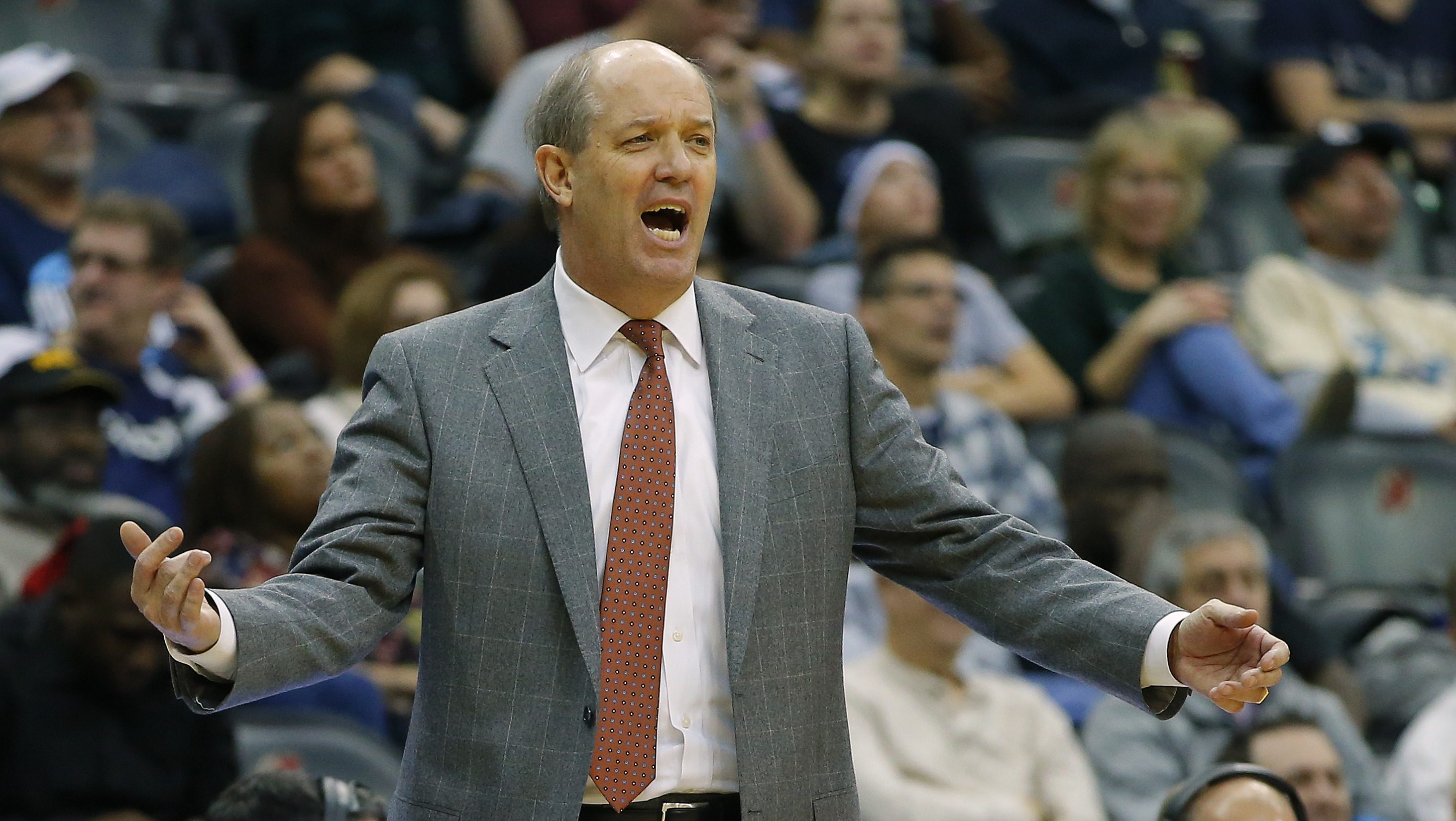NEWARK, NJ - DECEMBER 10: Head coach Kevin Stallings of the Pittsburgh Panthers yells to his team against the Penn State Nittany Lions during the second half of a college basketball game at Prudential Center on December 10, 2016 in Newark, New Jersey. Pitt defeated Penn State 81-73. (Photo by Rich Schultz/Getty Images)