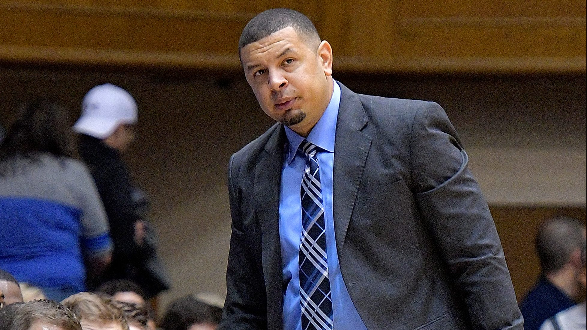 DURHAM, NC - JANUARY 04: Associate head coach Jeff Capel of the Duke Blue Devils watches during the game against the Georgia Tech Yellow Jackets at Cameron Indoor Stadium on January 4, 2017 in Durham, North Carolina. Duke won 110-57. (Photo by Grant Halverson/Getty Images)