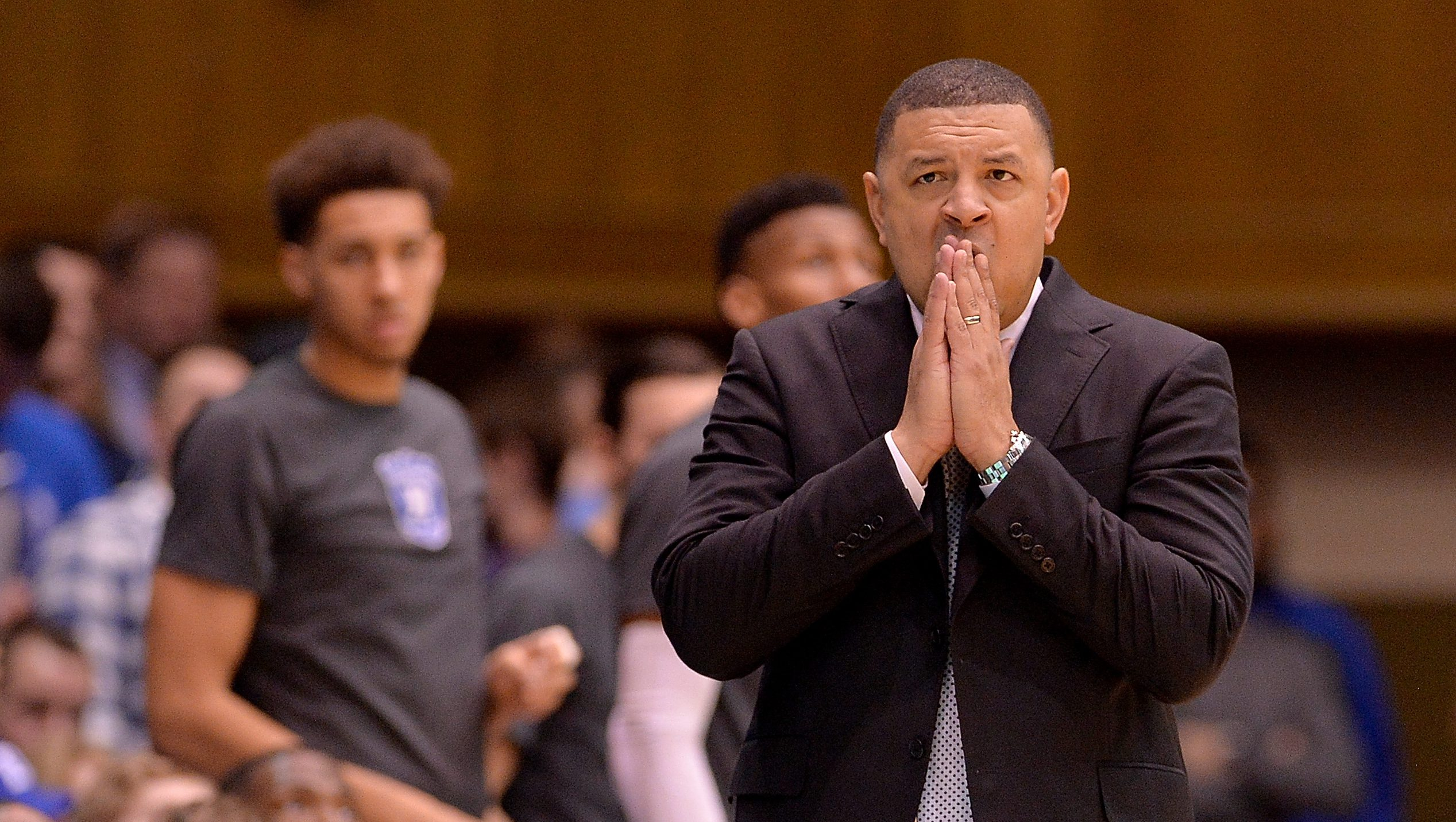 DURHAM, NC - JANUARY 21: Acting head coach Jeff Capel of the Duke Blue Devils watches his team l during the game against the Miami Hurricanes at Cameron Indoor Stadium on January 21, 2017 in Durham, North Carolina. (Photo by Grant Halverson/Getty Images)