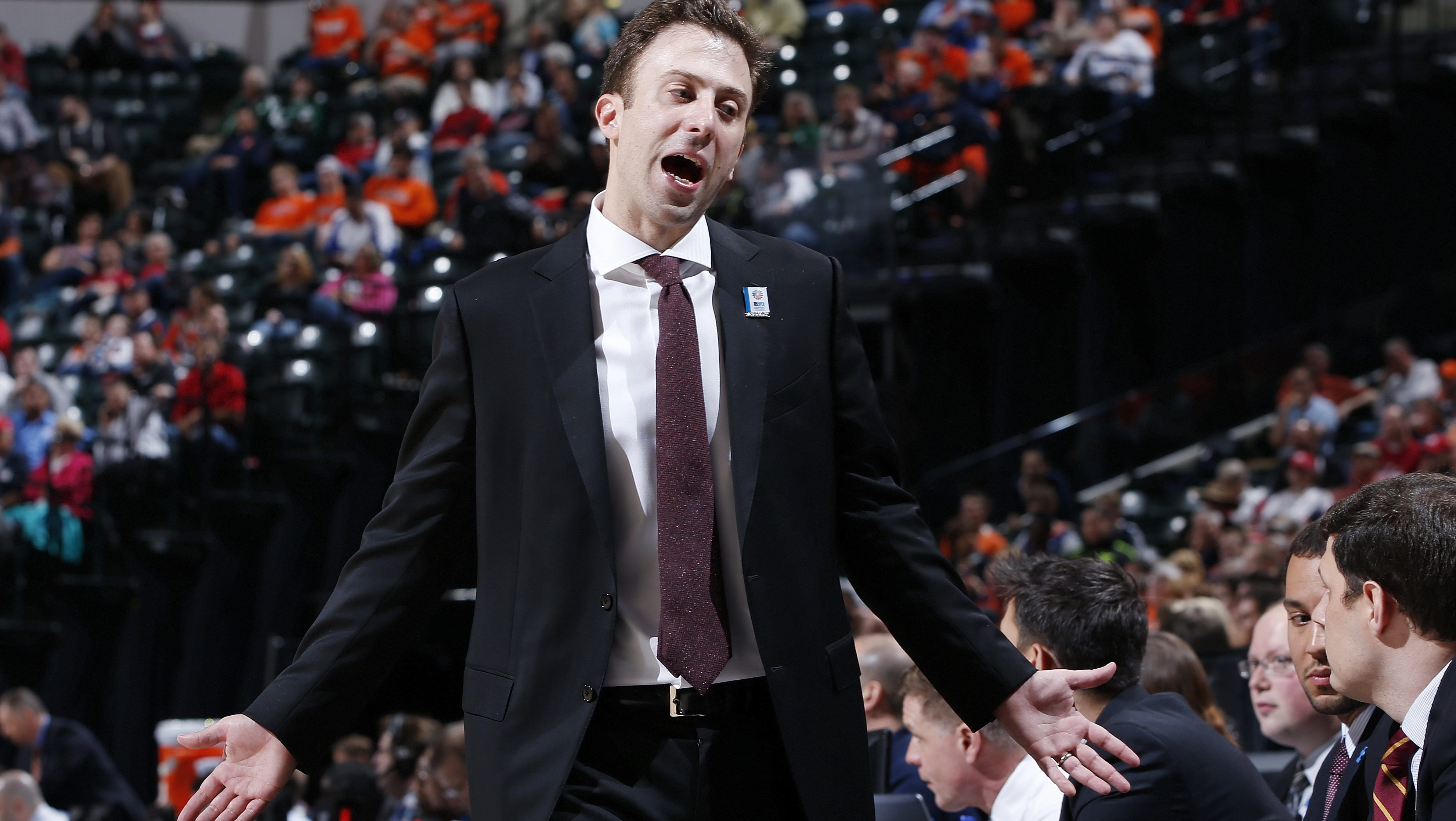 INDIANAPOLIS, IN - MARCH 9: Head coach Richard Pitino of the Minnesota Golden Gophers reacts against the Illinois Fighting Illini in the first round of the Big Ten Basketball Tournament at Bankers Life Fieldhouse on March 9, 2016 in Indianapolis, Indiana. Illinois defeated Minnesota 85-52. (Photo by Joe Robbins/Getty Images)