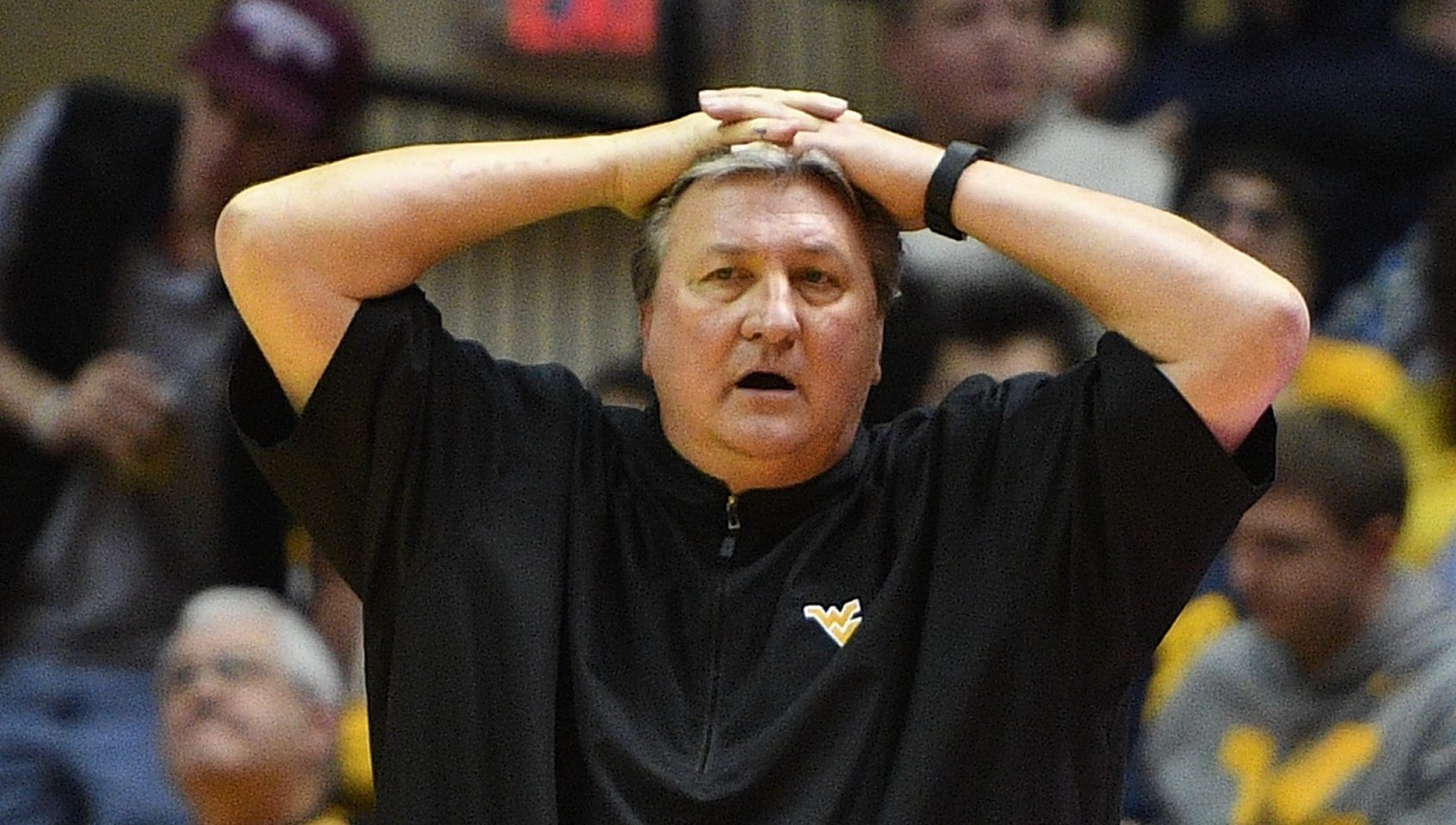 MORGANTOWN, WV - JANUARY 24:  Head coach Bob Huggins of the West Virginia Mountaineers reacts to a call in the second half during the game against the Kansas Jayhawks at WVU Coliseum on January 24, 2017 in Morgantown, West Virginia. (Photo by Justin Berl/Getty Images)