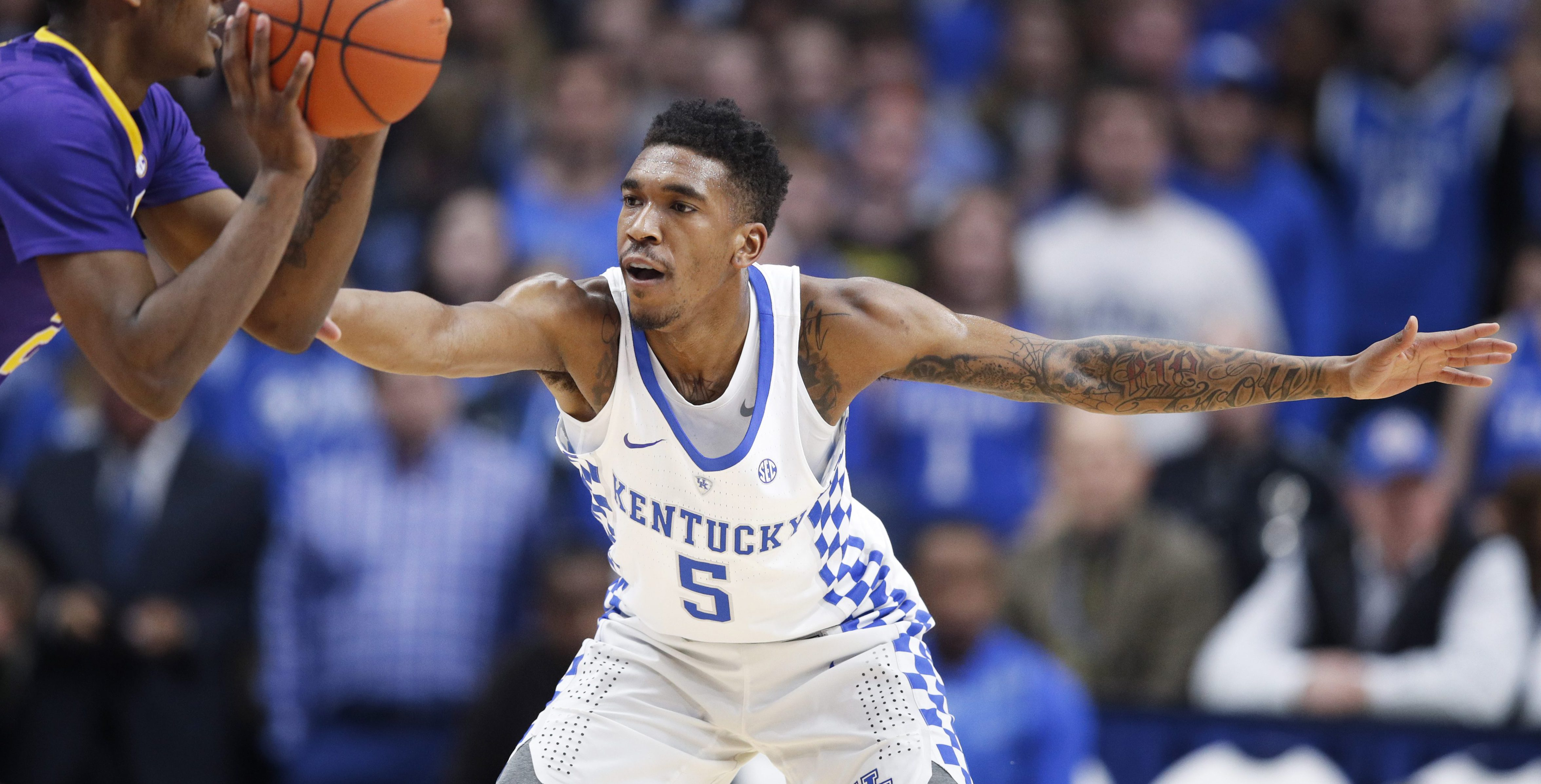 LEXINGTON, KY - FEBRUARY 07: Malik Monk #5 of the Kentucky Wildcats defends against Antonio Blakeney #2 of the LSU Tigers in the first half of the game at Rupp Arena on February 7, 2017 in Lexington, Kentucky. Kentucky defeated LSU 92-85. (Photo by Joe Robbins/Getty Images)