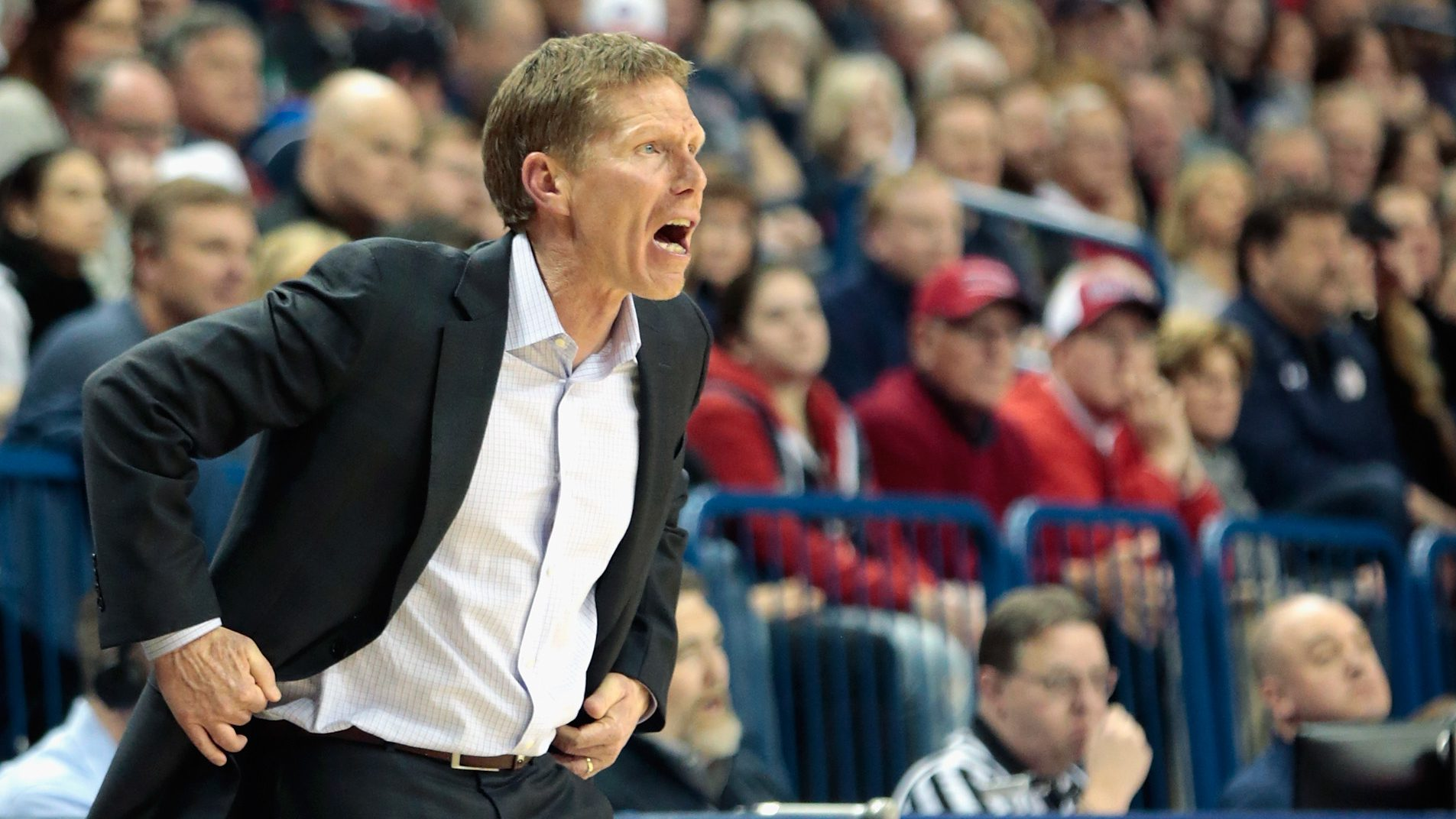 SPOKANE, WA - FEBRUARY 25: Head coach Mark Few of the Gonzaga Bulldogs works from the sideline in the second half against the BYU Cougars at McCarthey Athletic Center on February 25, 2017 in Spokane, Washington. BYU defeated Gonzaga 79-71. (Photo by William Mancebo/Getty Images)