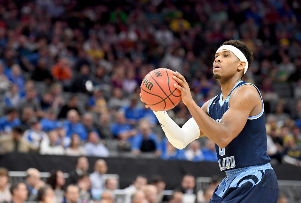 SACRAMENTO, CA - MARCH 19: E.C. Matthews #0 of the Rhode Island Rams shoots a technical foul shot against the Oregon Ducks during the second round of the 2017 NCAA Men's Basketball Tournament at Golden 1 Center on March 19, 2017 in Sacramento, California. (Photo by Thearon W. Henderson/Getty Images)