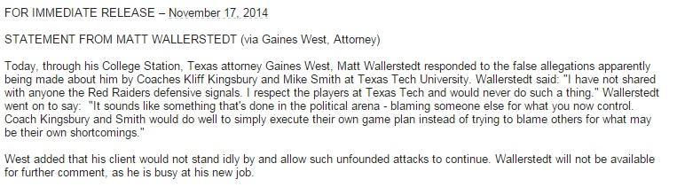 Wallerstedt statement