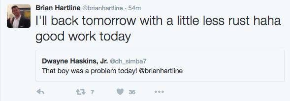 Brian Hartline tweet