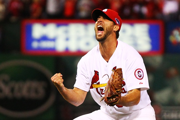 ST LOUIS, MO - OCTOBER 09: Adam Wainwright #50 of the St. Louis Cardinals celebrates defeating the Pittsburgh Pirates 6 to 1 in Game Five of the National League Division Series at Busch Stadium on October 9, 2013 in St Louis, Missouri. (Photo by Dilip Vishwanat/Getty Images)