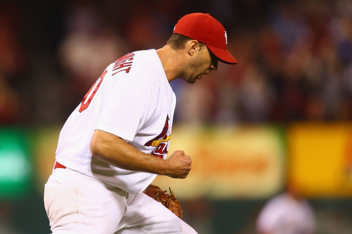 ST. LOUIS, MO - SEPTEMBER 17: Starter Adam Wainwright #50 of the St. Louis Cardinals celebrates after beating the Milwaukee Brewers at Busch Stadium on September 17, 2014 in St. Louis, Missouri. The Cardinals beat the brewers 2-0. (Photo by Dilip Vishwanat/Getty Images)