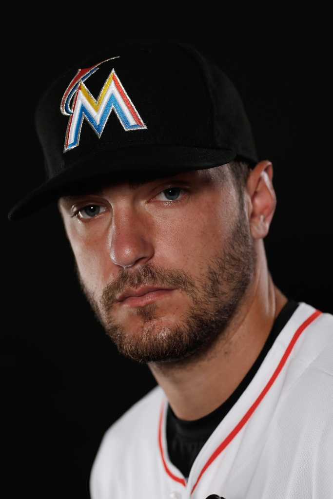 JUPITER, FL - FEBRUARY 25:  Jarred Cosart #23 of the Miami Marlins poses for a photograph at Spring Training photo day at Roger Dean Stadium on February 25, 2015 in Jupiter, Florida.  (Photo by Chris Trotman/Getty Images)