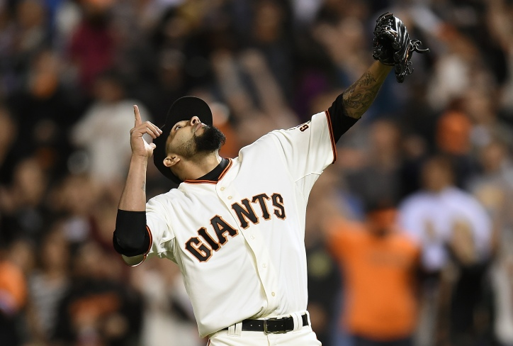 SAN FRANCISCO, CA - MAY 15: Sergio Romo #54 of the San Francisco Giants celebrates defeating the Miami Marlins 6-4 at AT&T Park on May 15, 2014 in San Francisco, California. (Photo by Thearon W. Henderson/Getty Images)