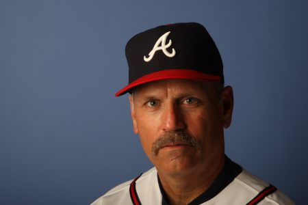 KISSIMMEE, FL - FEBRUARY 25: Brian Snitker #43 of the Atlanta Braves poses during Photo Day on February 25, 2008 at Disney's Wide World of Sports in Kissimmee, Florida. (Photo by Elsa/Getty Images)