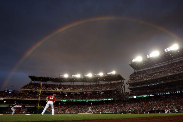 WASHINGTON, DC - JULY 16: Gerrit Cole #45 of the Pittsburgh Pirates works in the first inning under a rainbow against the Washington Nationals at Nationals Park on July 16, 2016 in Washington, DC. (Photo by Matt Hazlett/Getty Images)