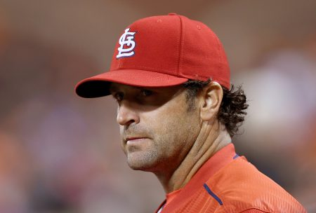 SAN FRANCISCO, CA - SEPTEMBER 16: Manager Mike Matheny #22 of the St. Louis Cardinals looks on while the umpires review a call against the San Francisco Giants in the top of the third inning at AT&T Park on September 16, 2016 in San Francisco, California. (Photo by Thearon W. Henderson/Getty Images)