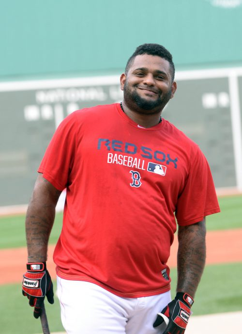 BOSTON, MA - AUGUST 31: Pablo Sandoval #48 of the Boston Red Sox warms up prior to the first inning against the New York Yankees at Fenway Park on August 31, 2015 in Boston, Massachusetts. The Red Sox won the game 4-3. (Photo by Darren McCollester/Getty Images)