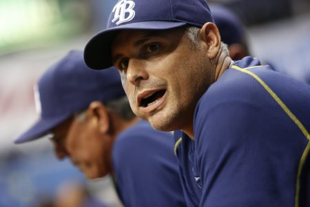 ST. PETERSBURG, FL - JULY 1: Manger Kevin Cash #16 of the Tampa Bay Rays yells from the dugout during the third inning of game against the Detroit Tigers on July 1, 2016 at Tropicana Field in St. Petersburg, Florida. (Photo by Brian Blanco/Getty Images)