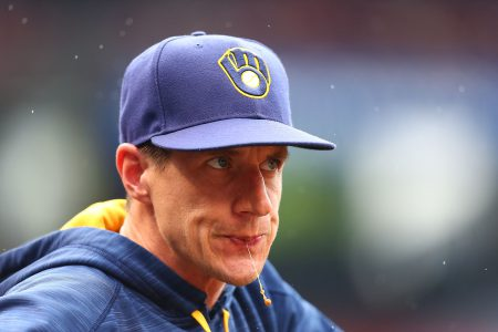 ST. LOUIS, MO - JULY 3: Manager Craig Counsell #30 of the Milwaukee Brewers spitswhile watching the game against the St. Louis Cardinals in the fourth inning at Busch Stadium on July 3, 2016 in St. Louis, Missouri. (Photo by Dilip Vishwanat/Getty Images)