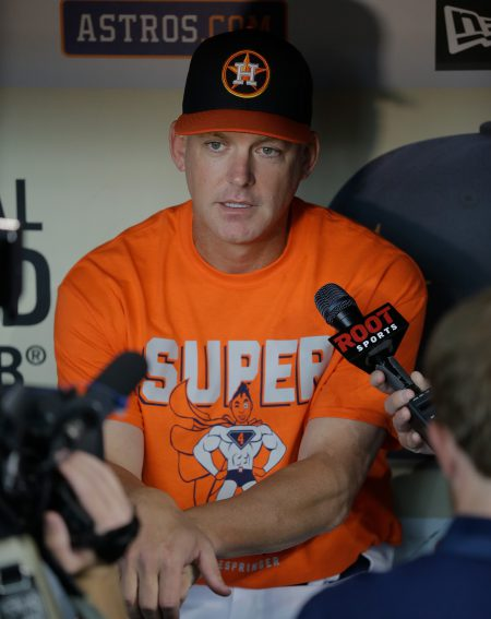 HOUSTON, TX - JULY 06: Manager A.J. Hinch #14 of the Houston Astros talks with the media before playing the Seattle Mariners at Minute Maid Park on July 6, 2016 in Houston, Texas. (Photo by Bob Levey/Getty Images)