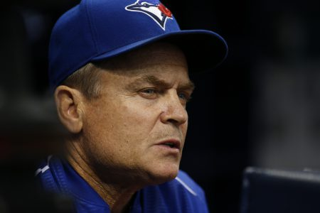 ST. PETERSBURG, FL - SEPTEMBER 3: Manager John Gibbons #5 of the Toronto Blue Jays looks on from the dugout during the first inning of a game against the Tampa Bay Rays on September 3, 2016 at Tropicana Field in St. Petersburg, Florida. (Photo by Brian Blanco/Getty Images)