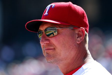 ARLINGTON, TX - OCTOBER 02: Manager Jeff Banister #28 of the Texas Rangers looks on as the Rangers take on the Tampa Bay Rays at Globe Life Park in Arlington on October 2, 2016 in Arlington, Texas. (Photo by Tom Pennington/Getty Images)
